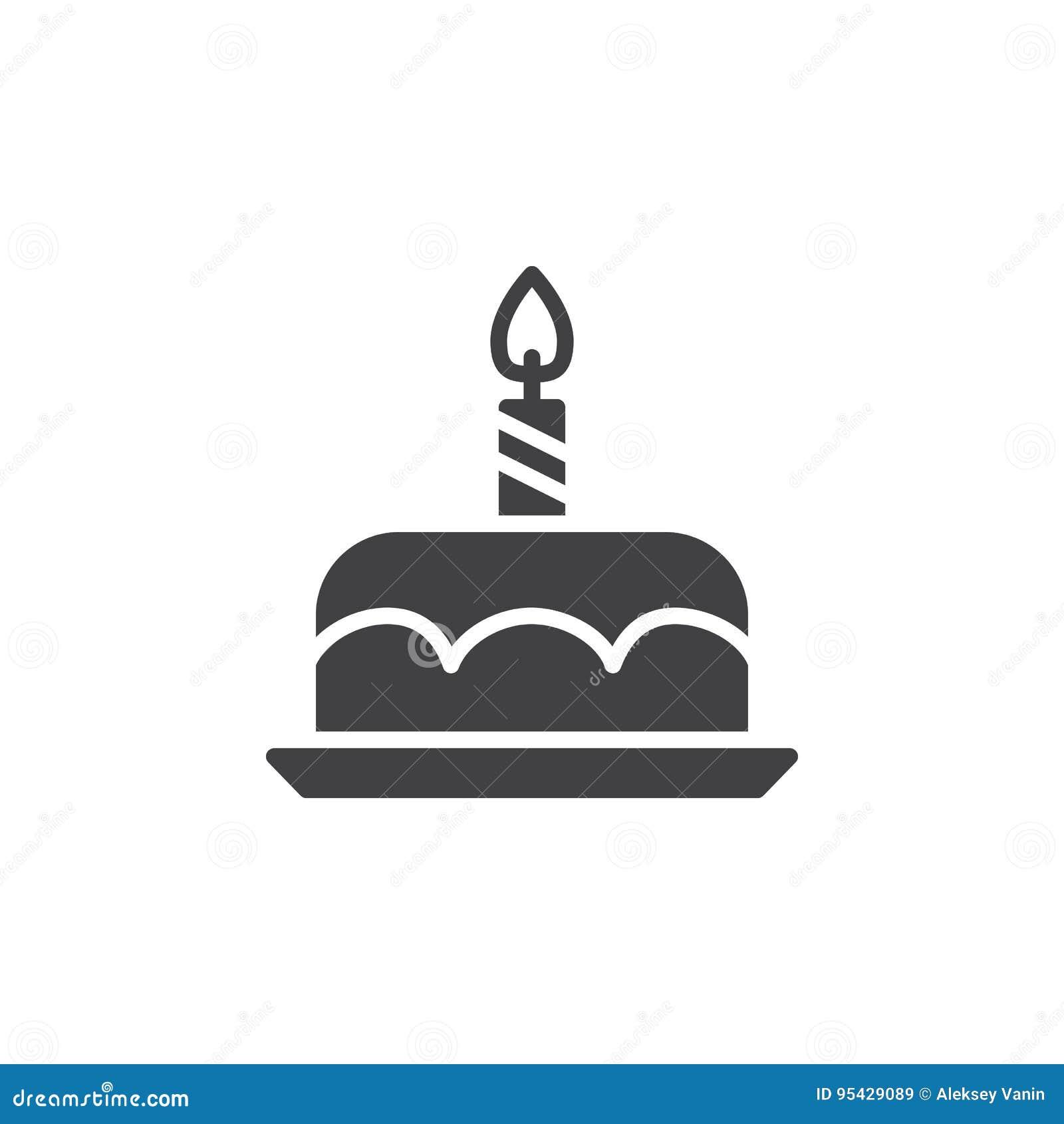 Vektor för symbol för födelsedagkaka, fyllt plant tecken, fast pictogram som isoleras på vit