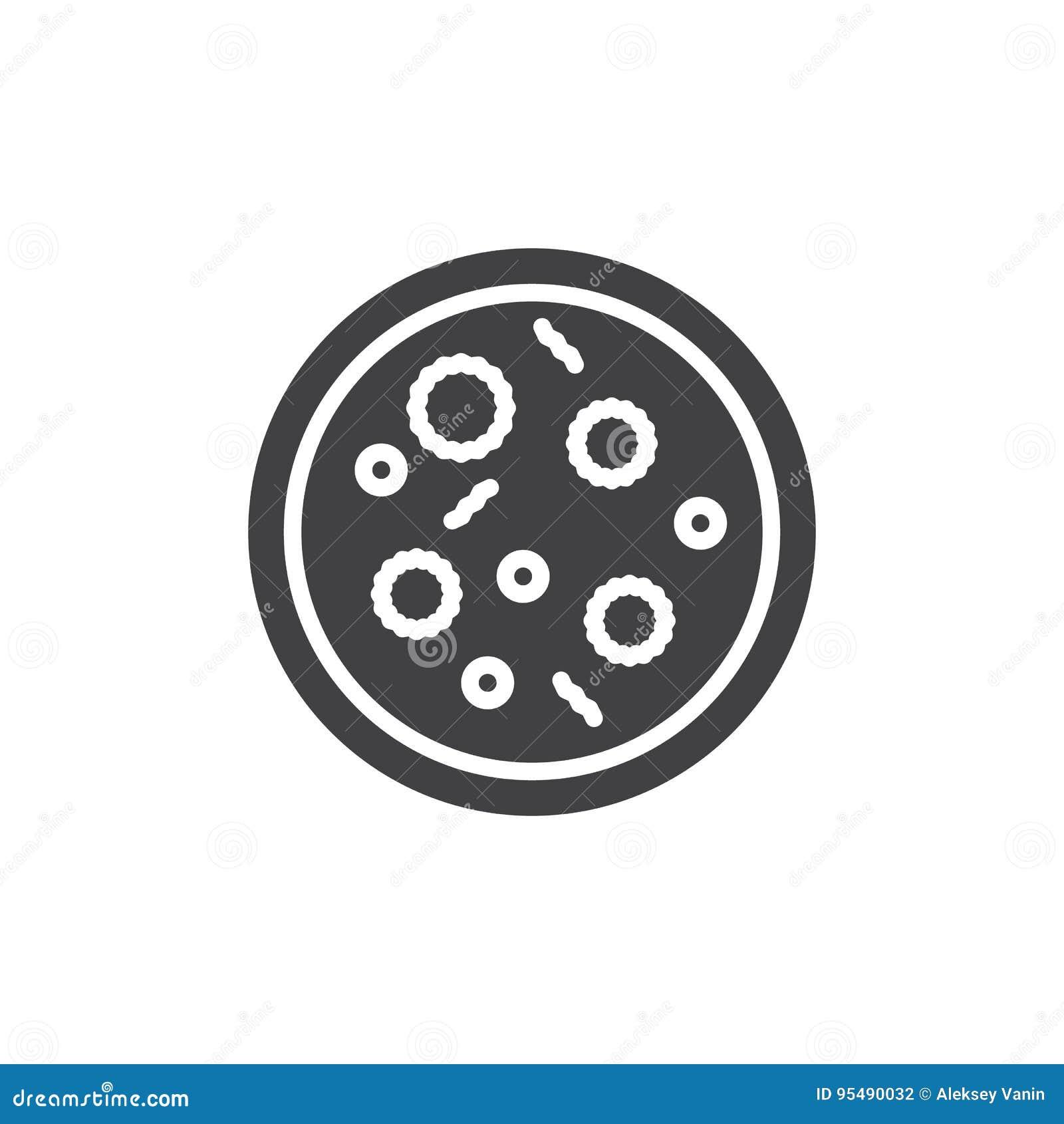Vektor för symbol för Petri maträtt, fyllt plant tecken, fast pictogram som isoleras på vit