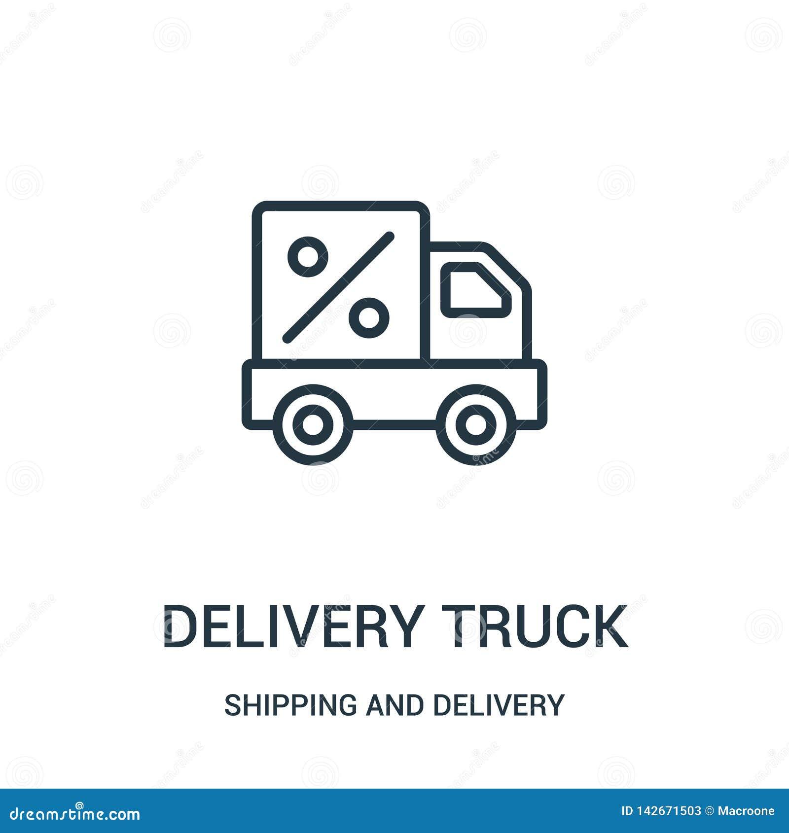 Vektor för symbol för leveranslastbil från sändnings- och leveranssamling Tunn linje illustration för vektor för symbol för övers
