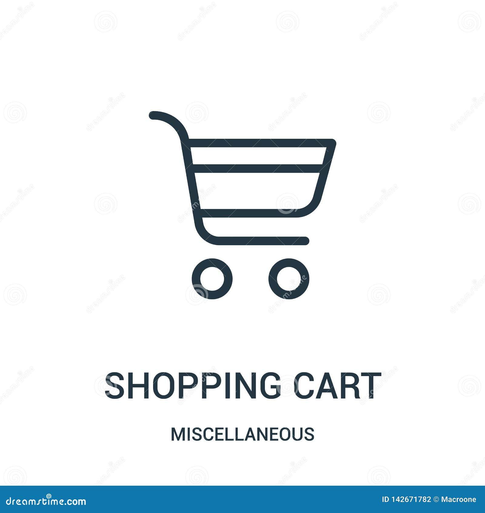 Vektor för symbol för shoppingvagn från diverse samling Tunn linje illustration för vektor för symbol för översikt för shoppingva