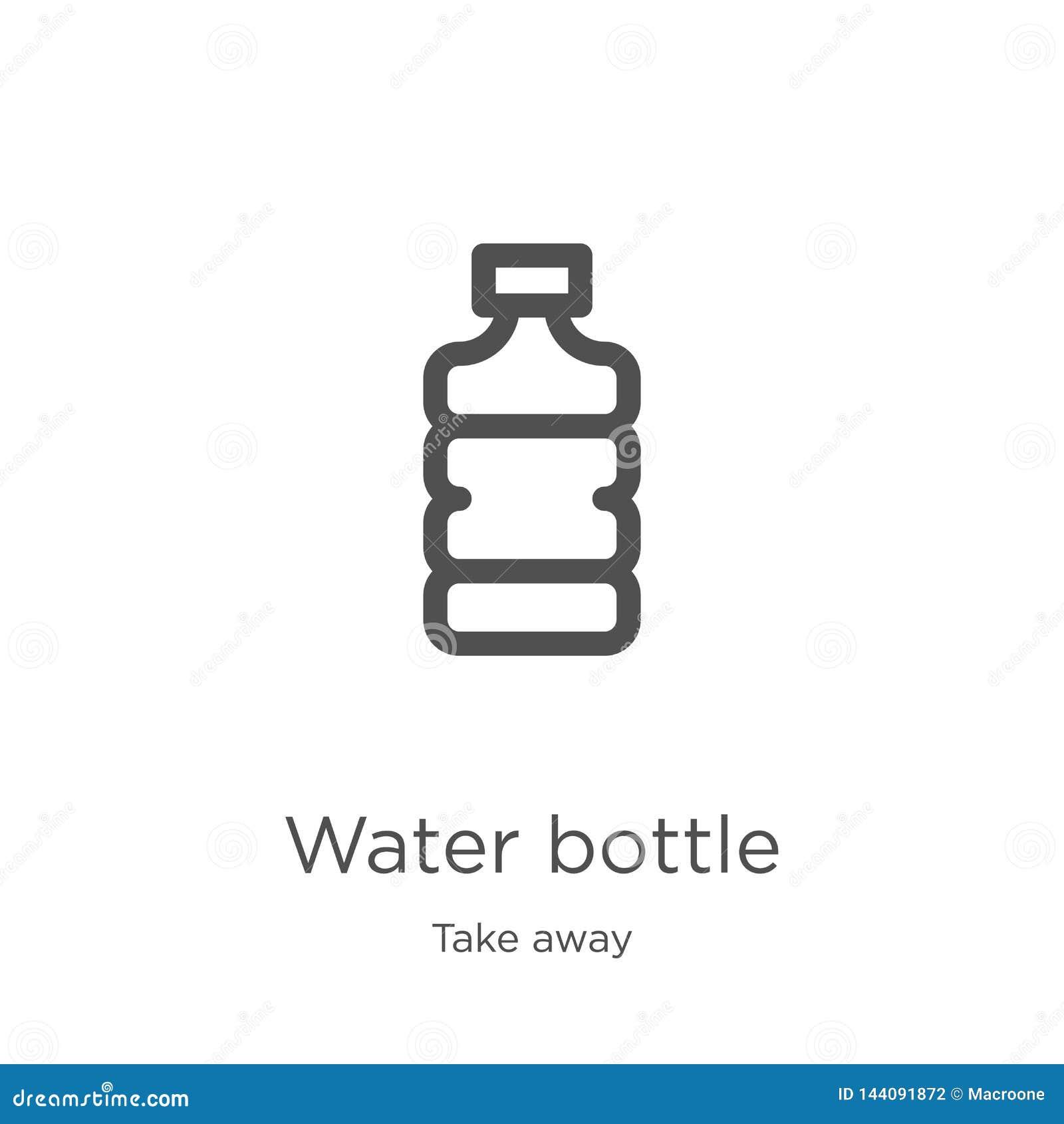 Vektor för symbol för vattenflaska från för tagande samling bort Tunn linje illustration för vektor för symbol för översikt för v