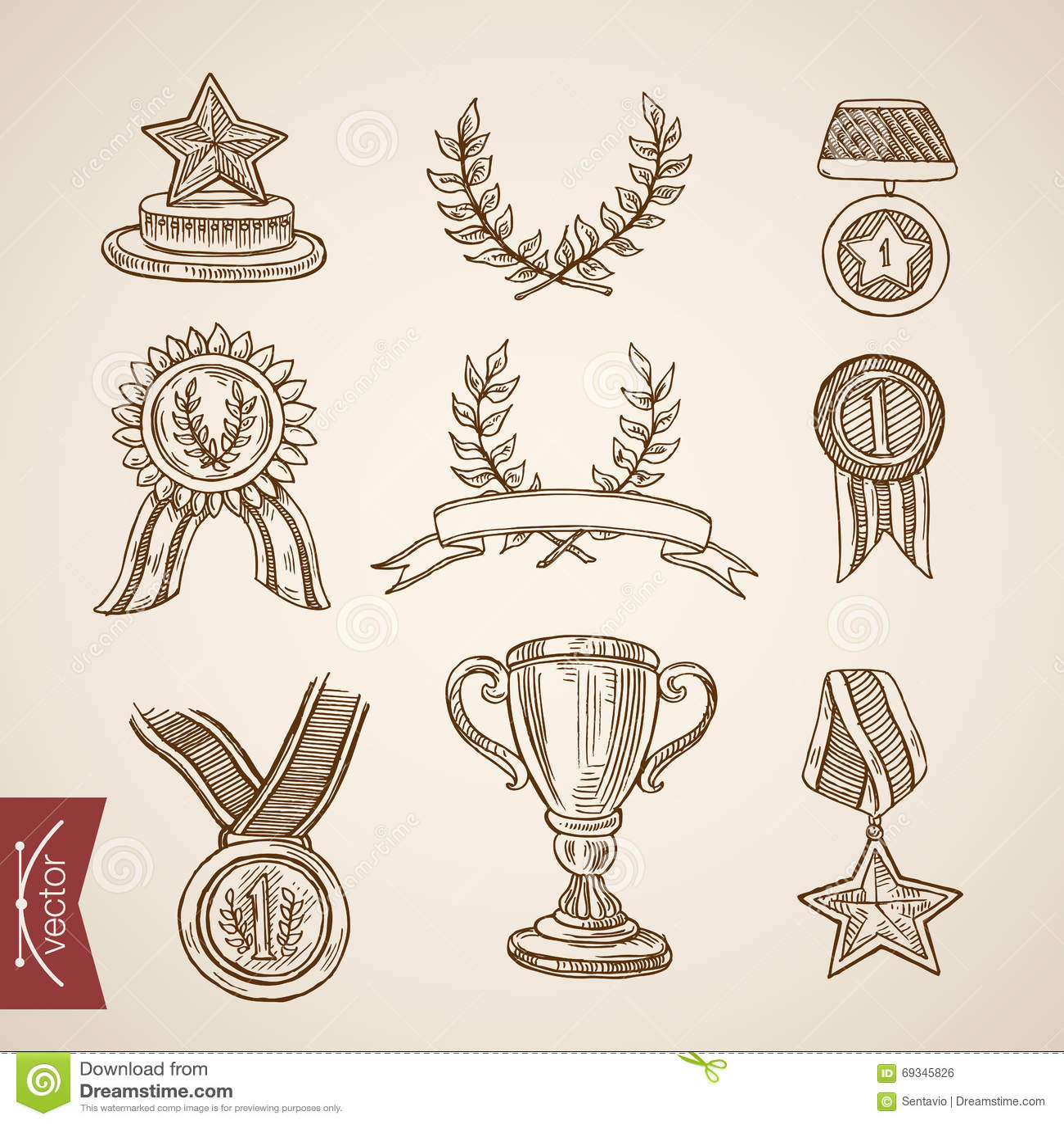 Vektor för tappning för gravyr för attribut för vinnare för seger för kopptrofémedalj