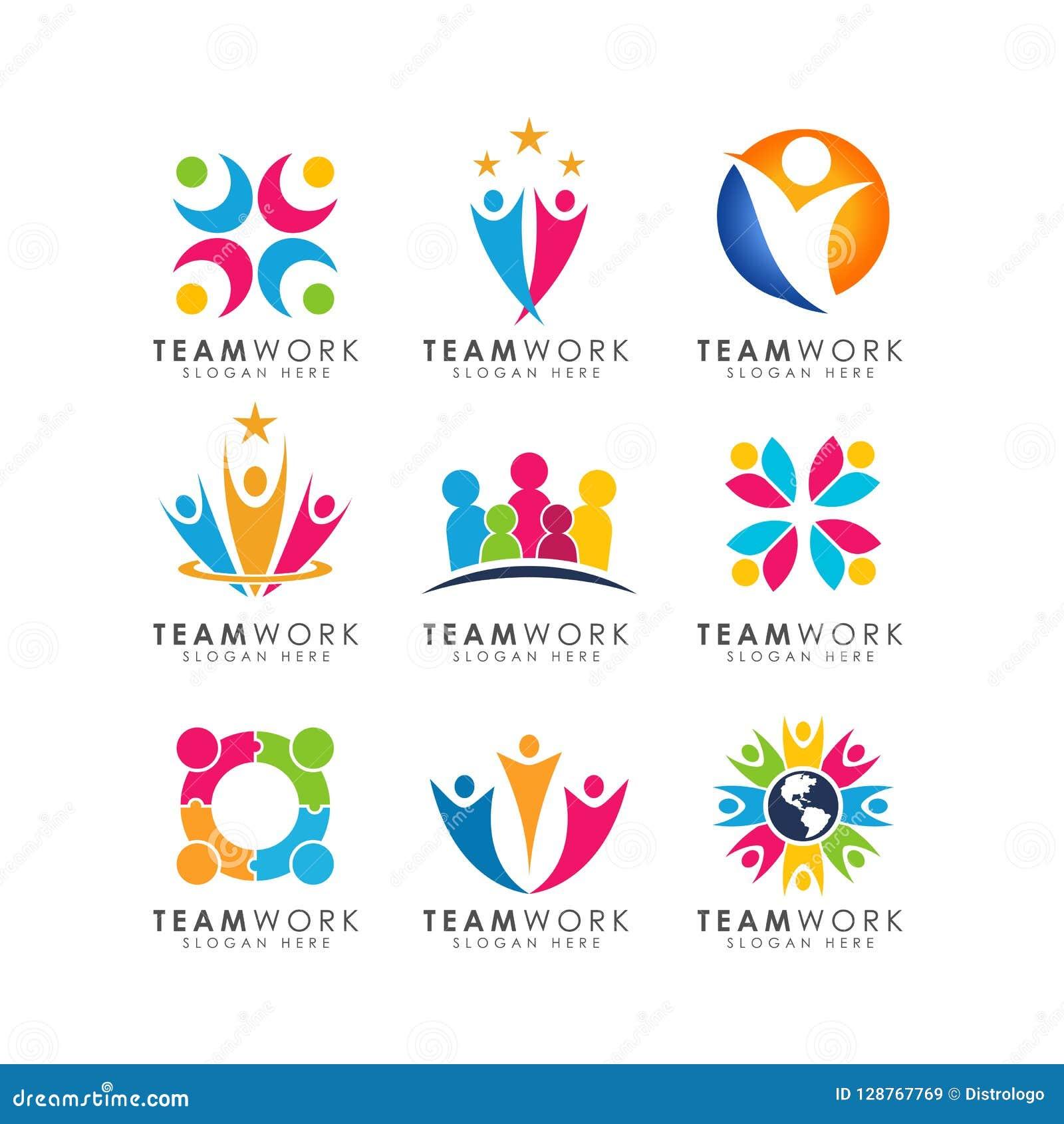 Vektor för teamworklogodesign organisatorisk logodesign
