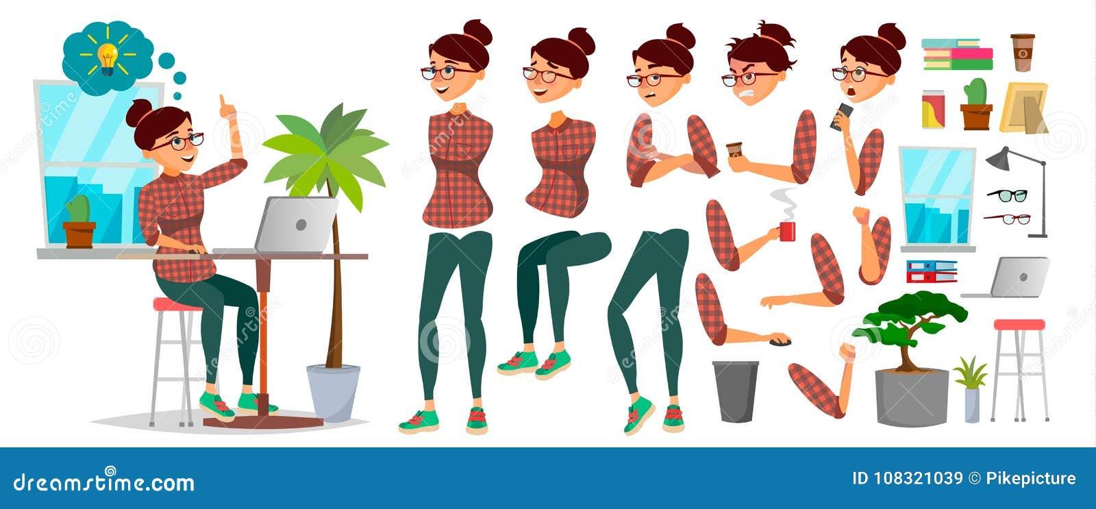 Vektor för tecken för affärskvinna Funktionsduglig kvinnlig Tillfällig kläder Starta upp kontor Flickabärare Animeringuppsättning