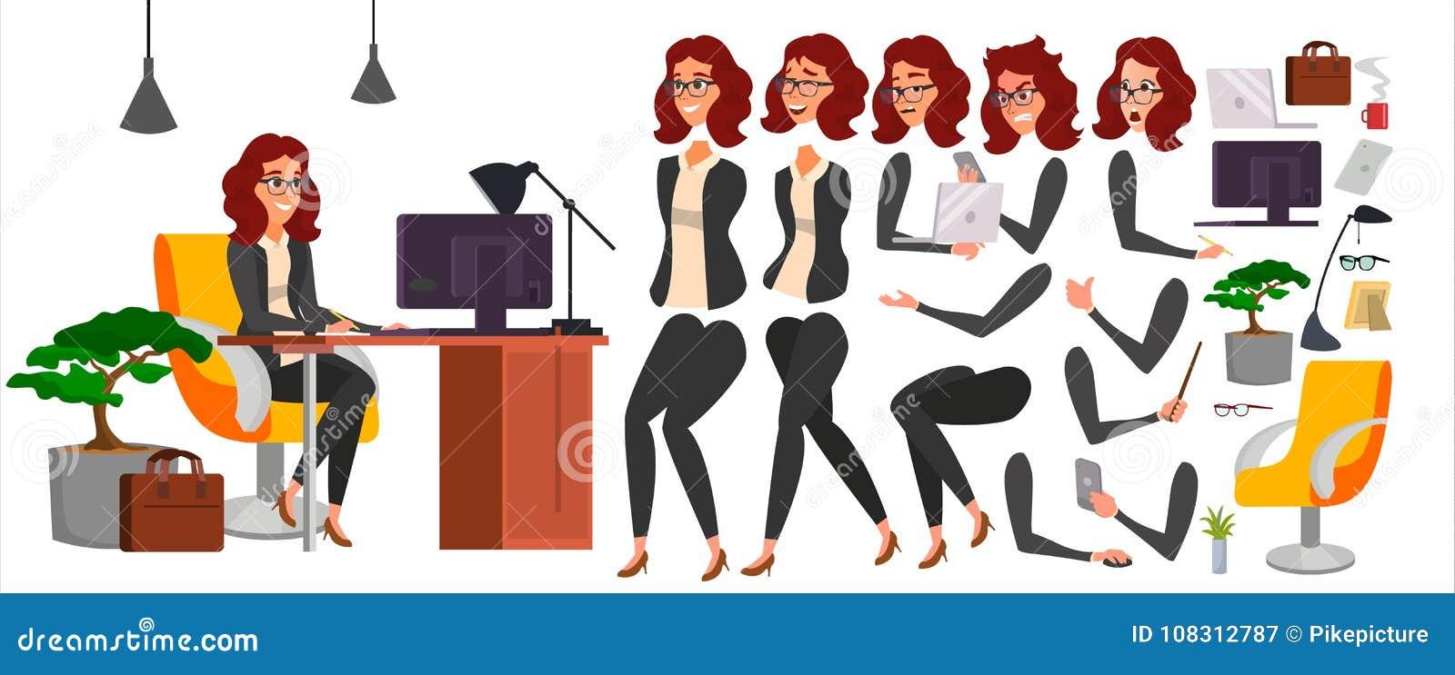 Vektor för tecken för affärskvinna Funktionsdugligt kvinnligt flickaframstickande kontor Flickabärare Animeringuppsättning attrak