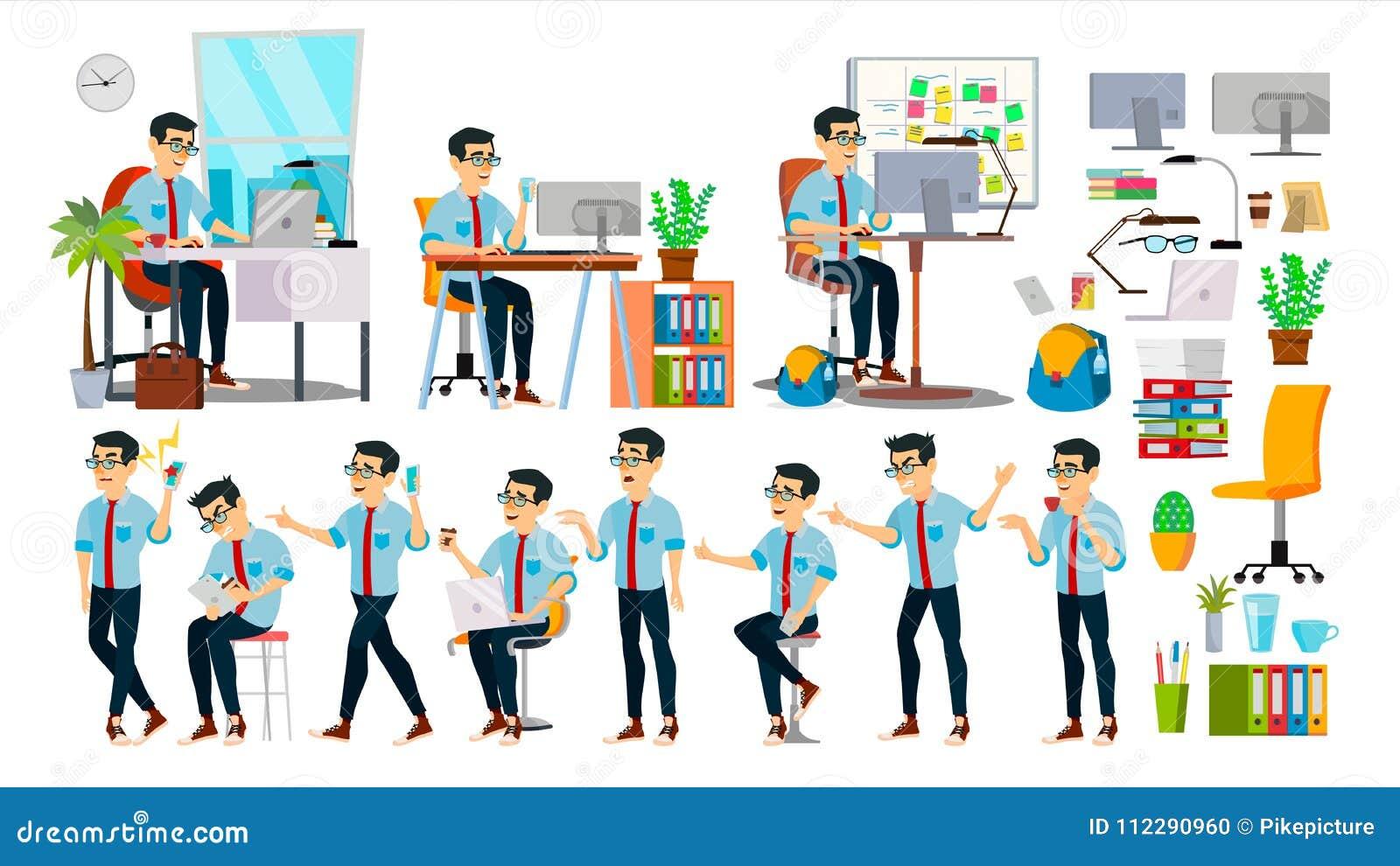 Vektor för tecken för affärsman Funktionsduglig asiatisk folkuppsättning Kontor idérik studio asiat symboliskt läge för folk för