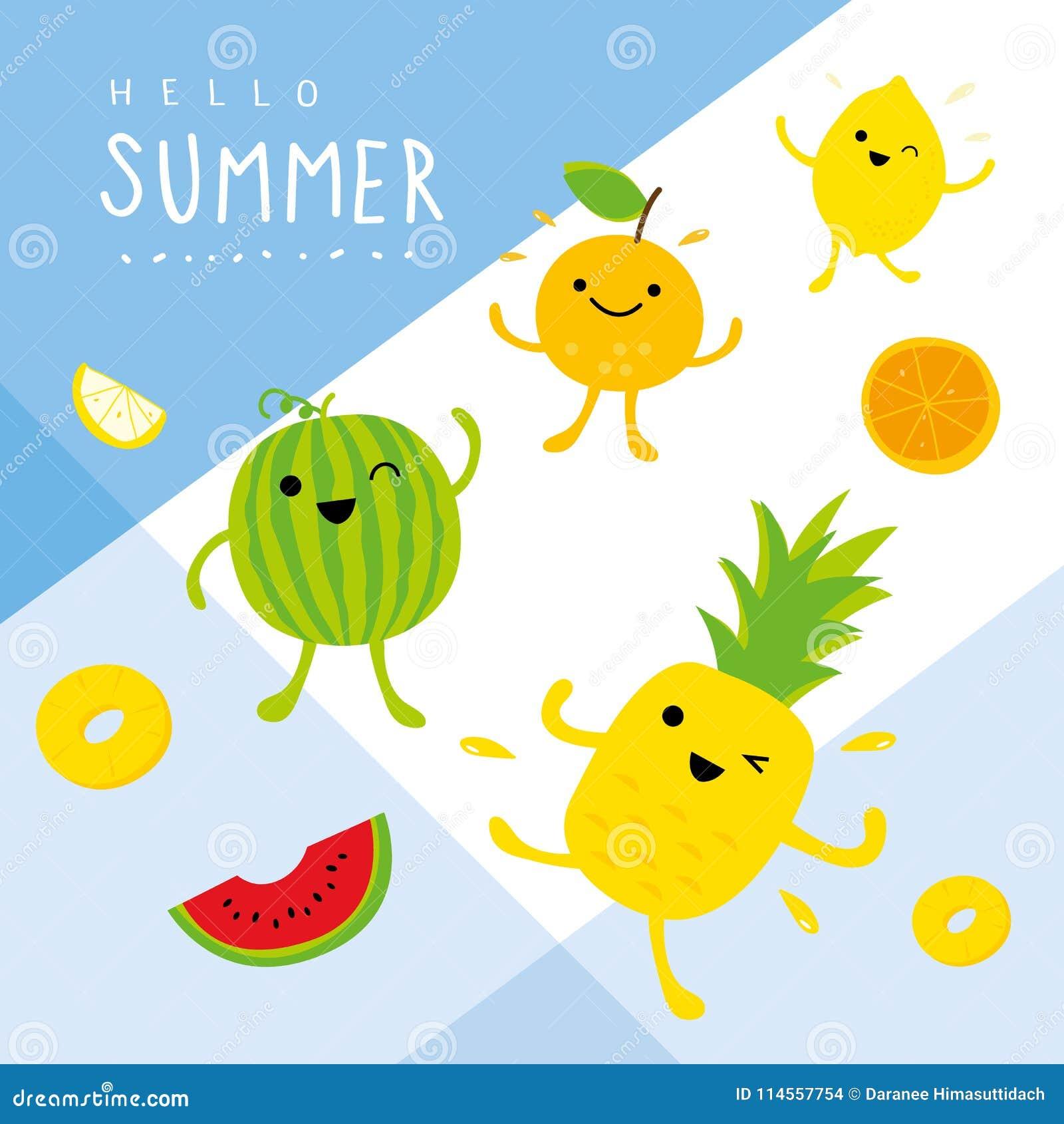 Vektor för tecken för uppsättning för orange leende för tecknad film för citron för vattenmelon för ananas för ny frukt för somma