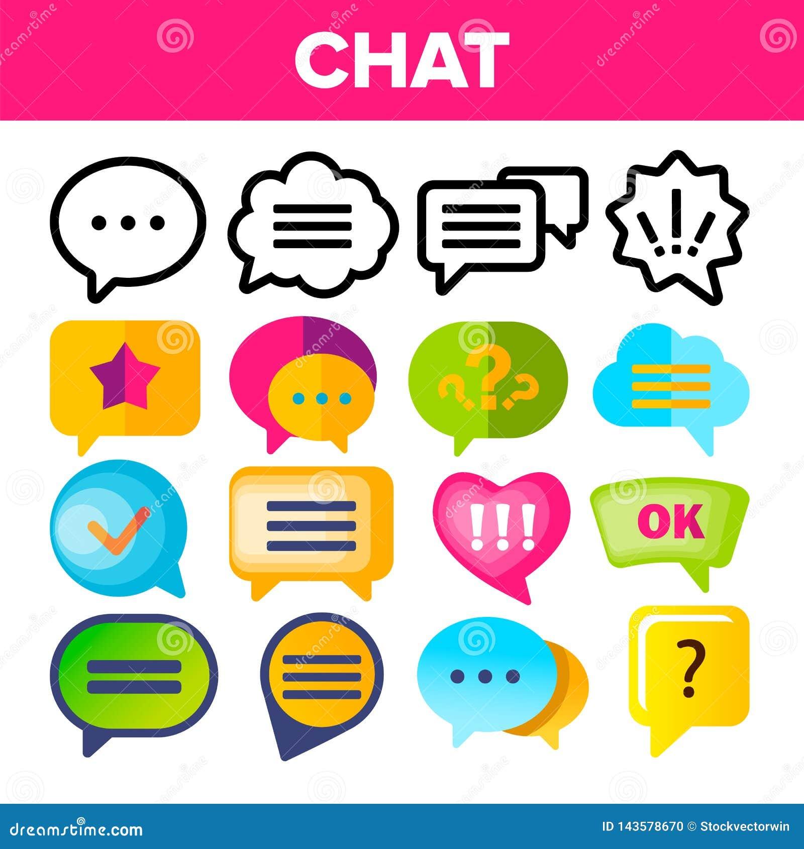 Vektor för uppsättning för anförandebubblasymbol Anförande för pratstunddialogkonversation bubblar symboler AppPictogram Det soci