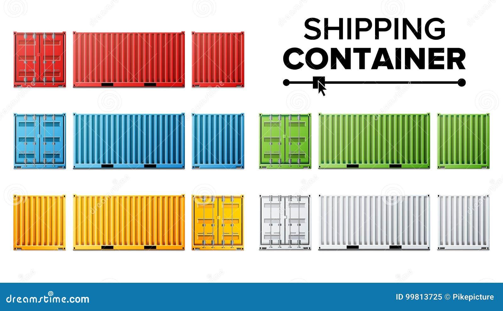 Vektor för uppsättning för sändningslastbehållare Fraktsändningsbehållarebegrepp Logistik trans. Isolerat på vit