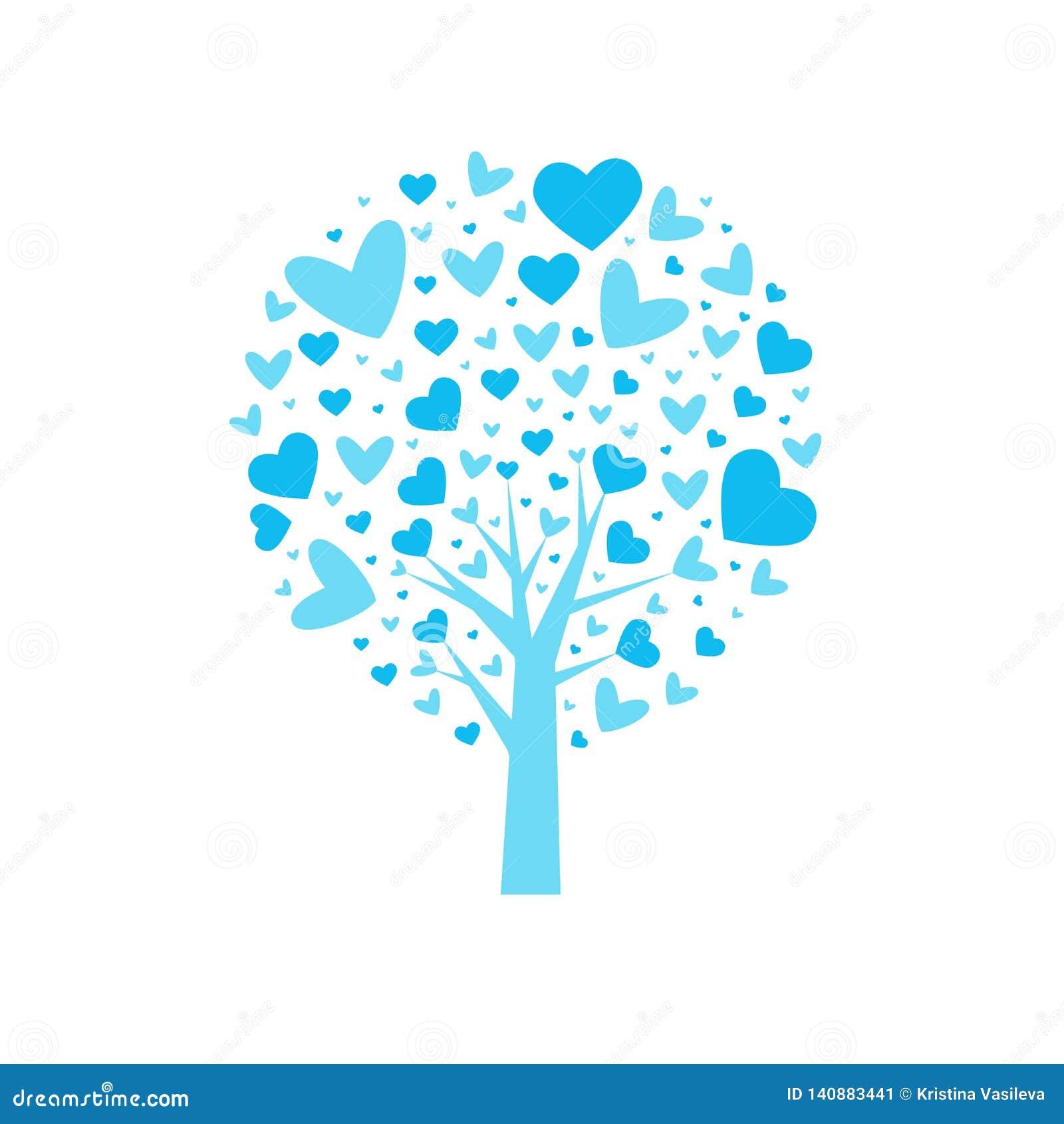 Vektor för valentin för tree för bakgrundshjärtaform Blad från hjärtor bakgrund isolerad white också vektor för coreldrawillustra