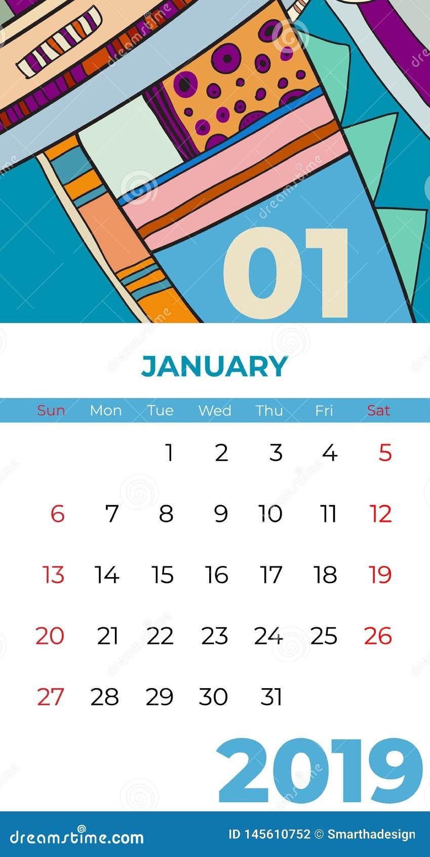 2019 vektor f?r samtida konst f?r januari kalender abstrakt Skrivbord sk?rm, skrivbords- m?nad 01,2019, f?rgrik kalendermall 2019
