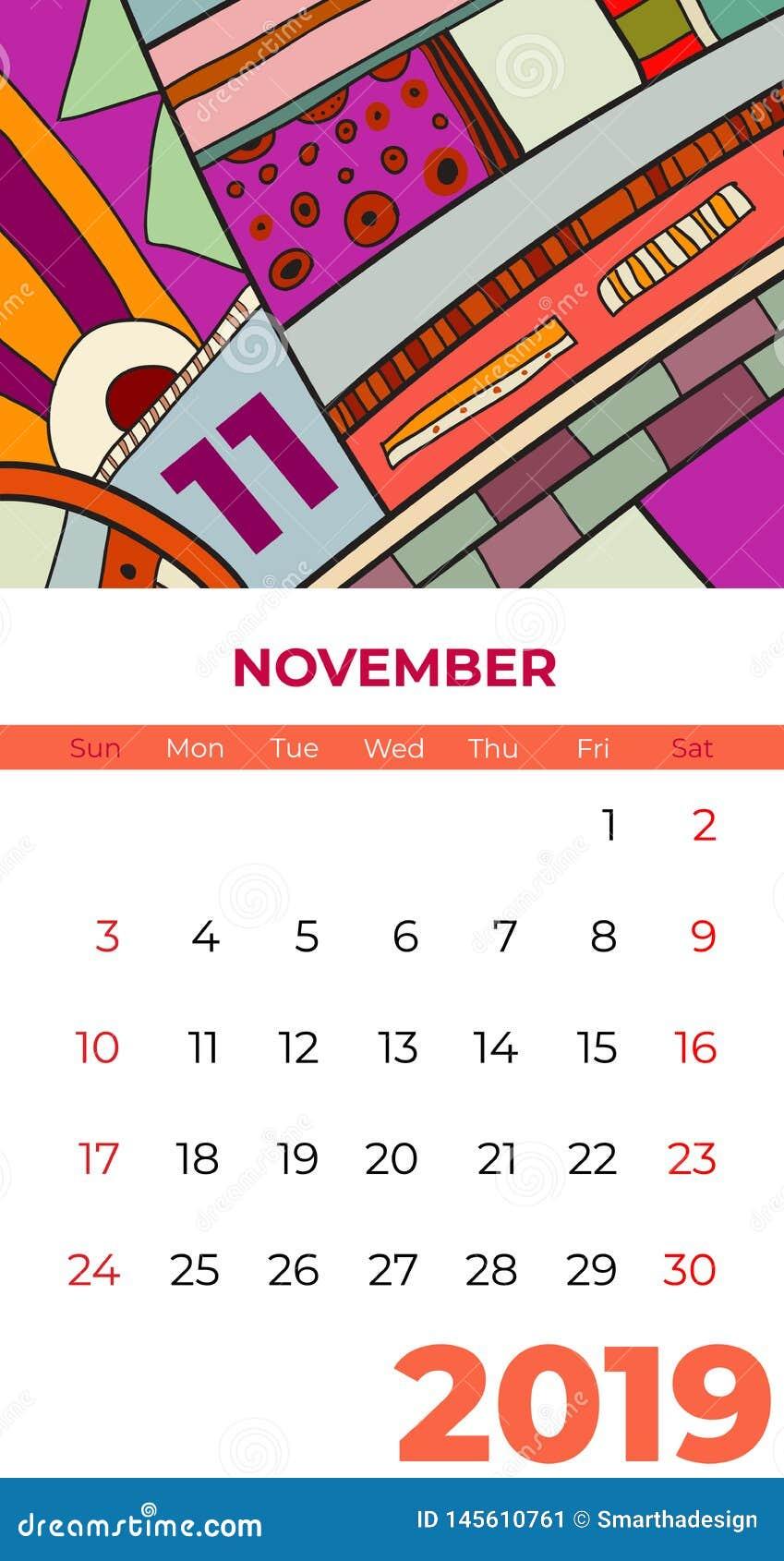 2019 vektor f?r samtida konst f?r November kalender abstrakt Skrivbord sk?rm, skrivbords- m?nad 11,2019, f?rgrik kalendermall 201
