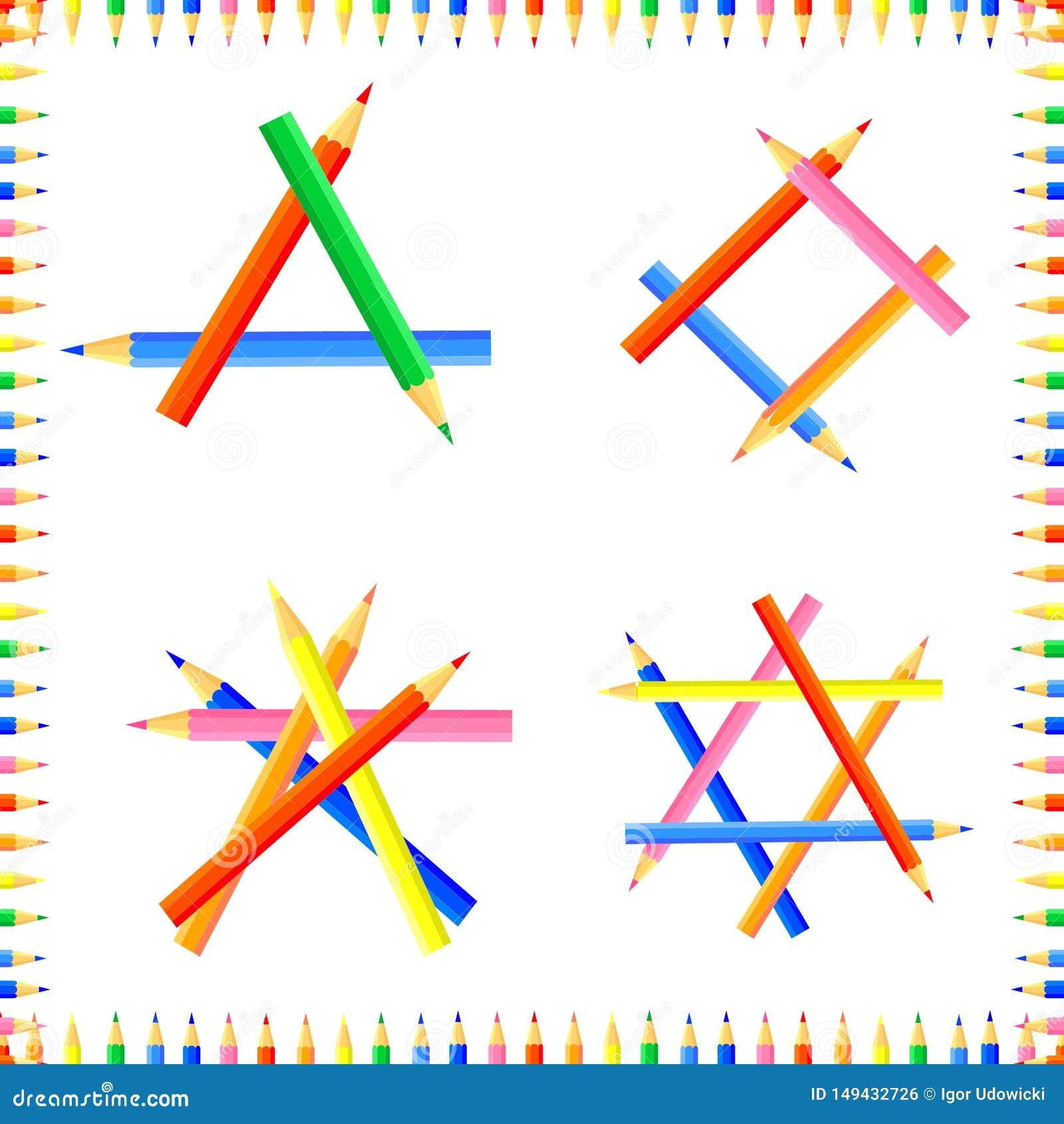 Vektor farbiges nahtloses Muster Reihen von spitzen Bleistiften bilden einen Rahmen