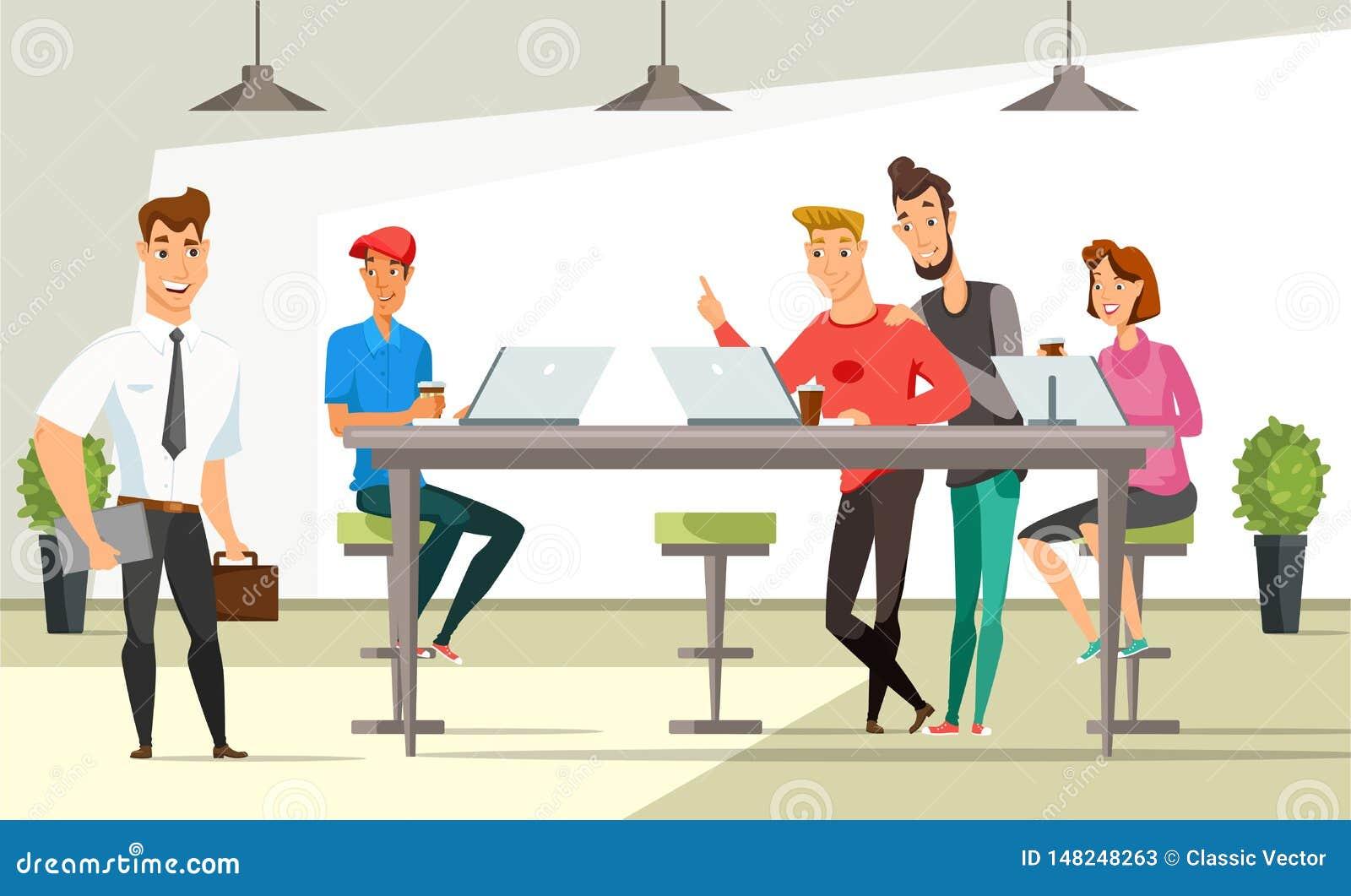 Vektor-Farbillustration der Büroangestellten flache