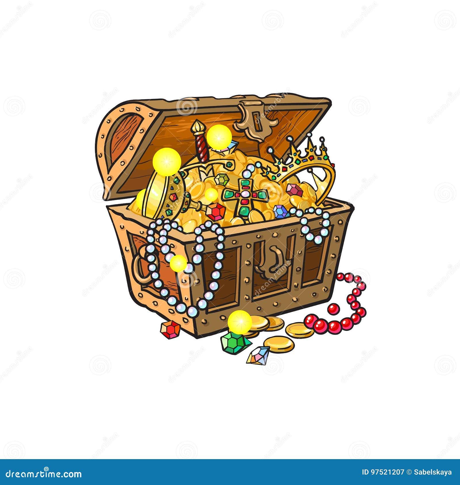 Vektor geöffnete Schatztruhe voll von goldenen Münzen