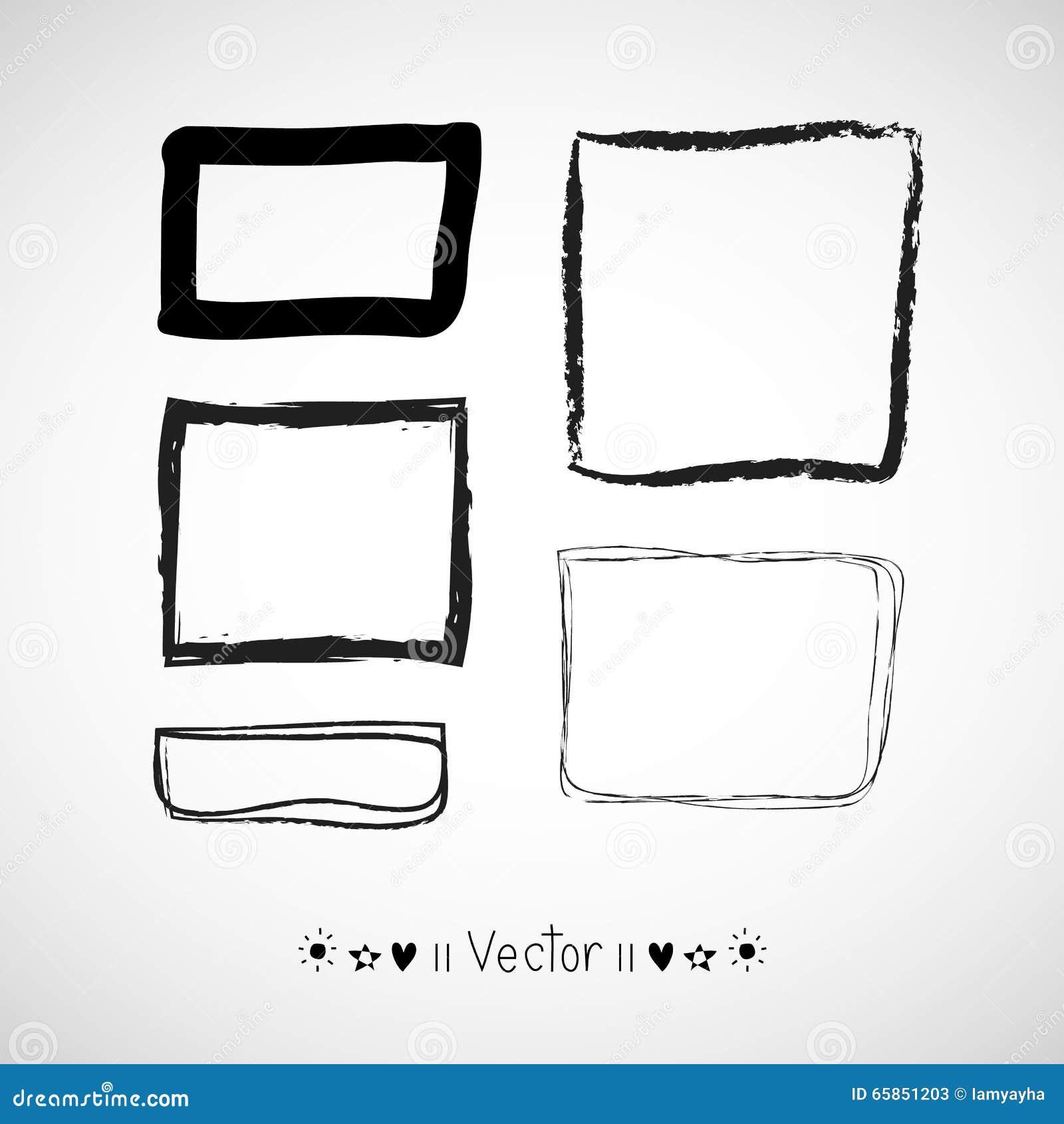 Vektor-Hand Gezeichnete Rahmen Eingestellt Überlagert, Einfach Zu ...