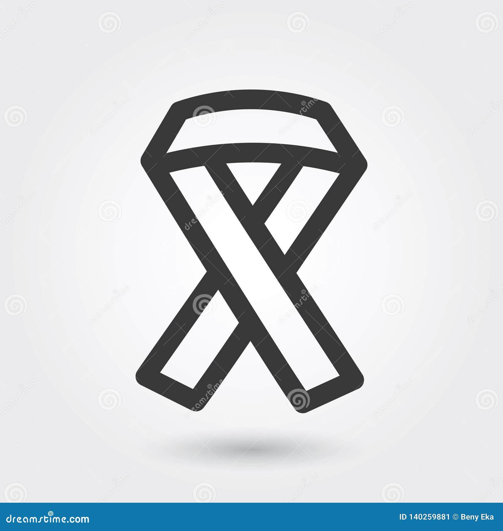 Vektor-Ikone, HIV-Band-medizinische Ikonen-Linie Art zu irgendwelchen Zwecken,