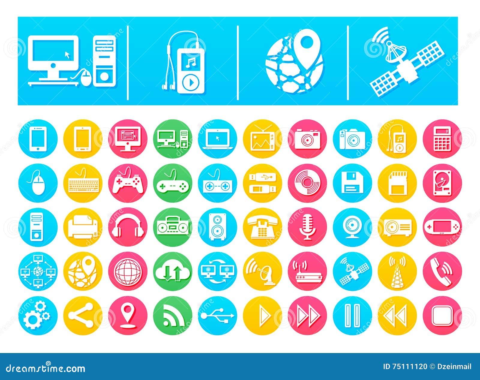 Vektor-Ikonen-Satz-Geräte und Technologie flach in den bunten Kreisen