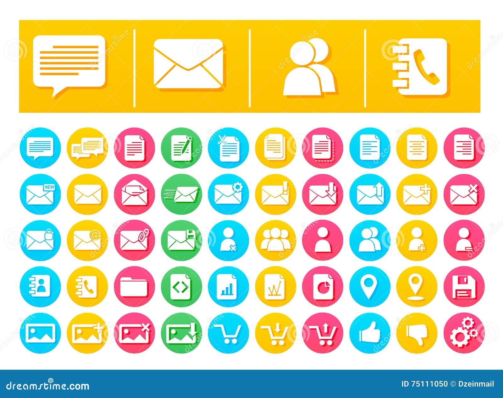 Vektor-Ikonen-Satz-Mitteilung und Kommunikation flach in den bunten Kreisen