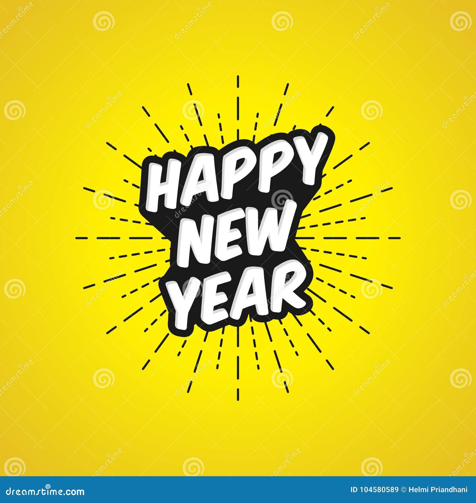 Vektor-Illustration des guten Rutsch ins Neue Jahr mit hellem gelbem Hintergrund