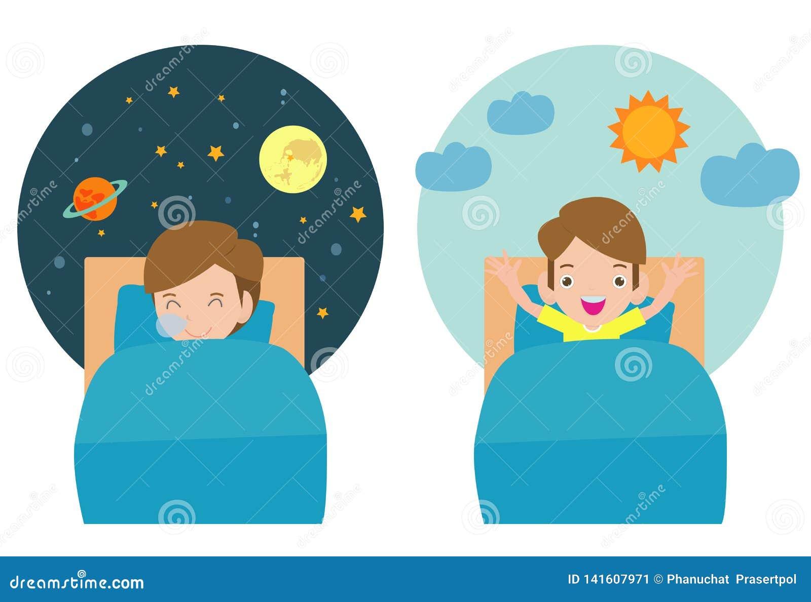 Vektor-Illustration des Kindes schlafend und aufweckend, Kind, das auf Träumen der dieser Nacht schlafen, gute Nacht und süße Trä
