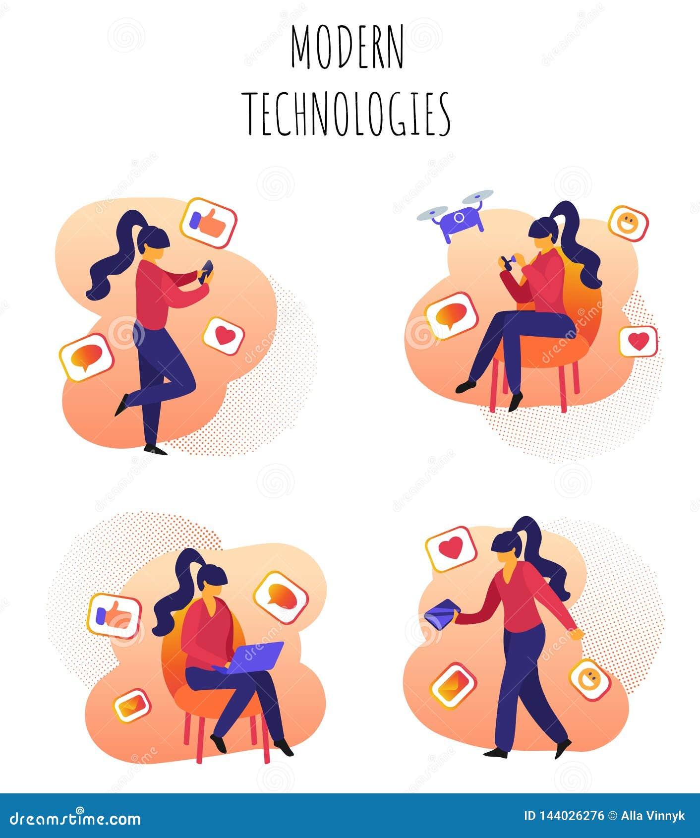 Vektor-Illustration geschriebene moderne Technologien