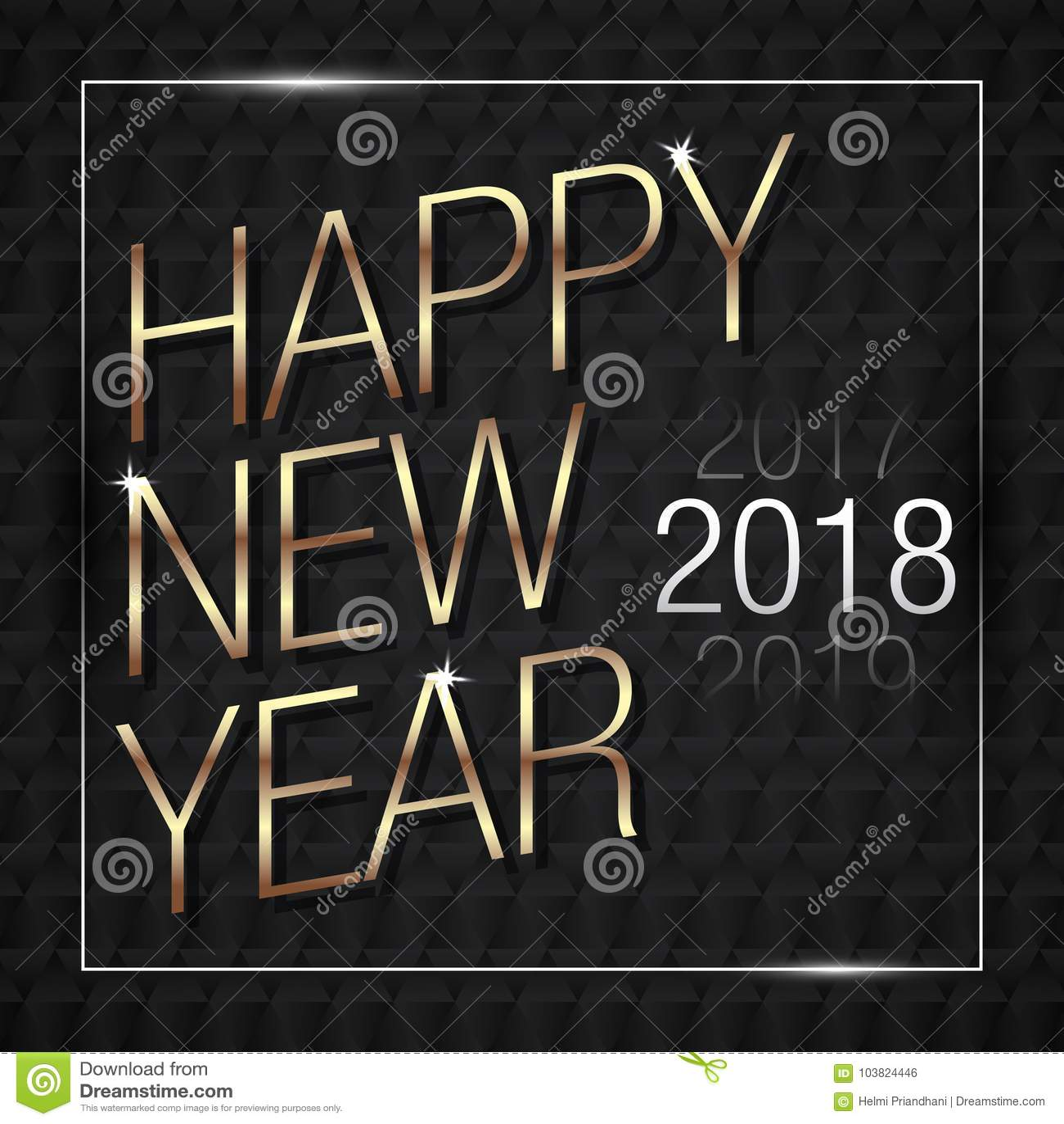 Vektor-Illustration von guten Rutsch ins Neue Jahr-Gold 2018 mit schwarzen Muster-Farben