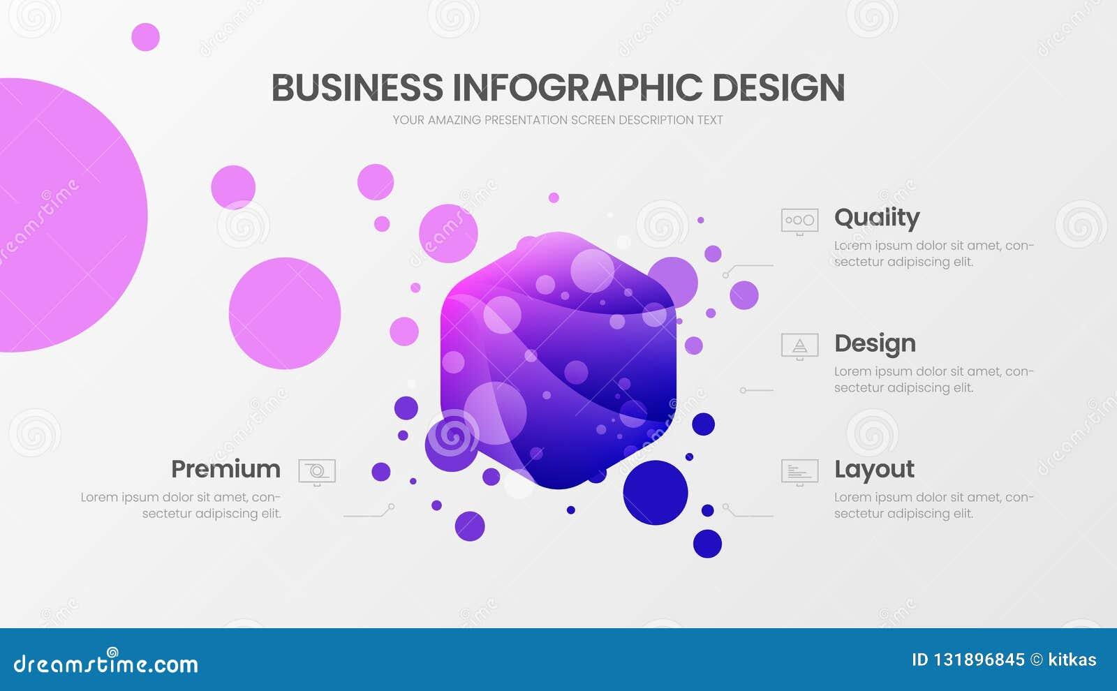 Vektor-Illustrationsschablone mit 4 Wahl hexahedron Analytics Sichtbarmachungs-Entwurf der kommerziellen Daten Statistiken Infogr