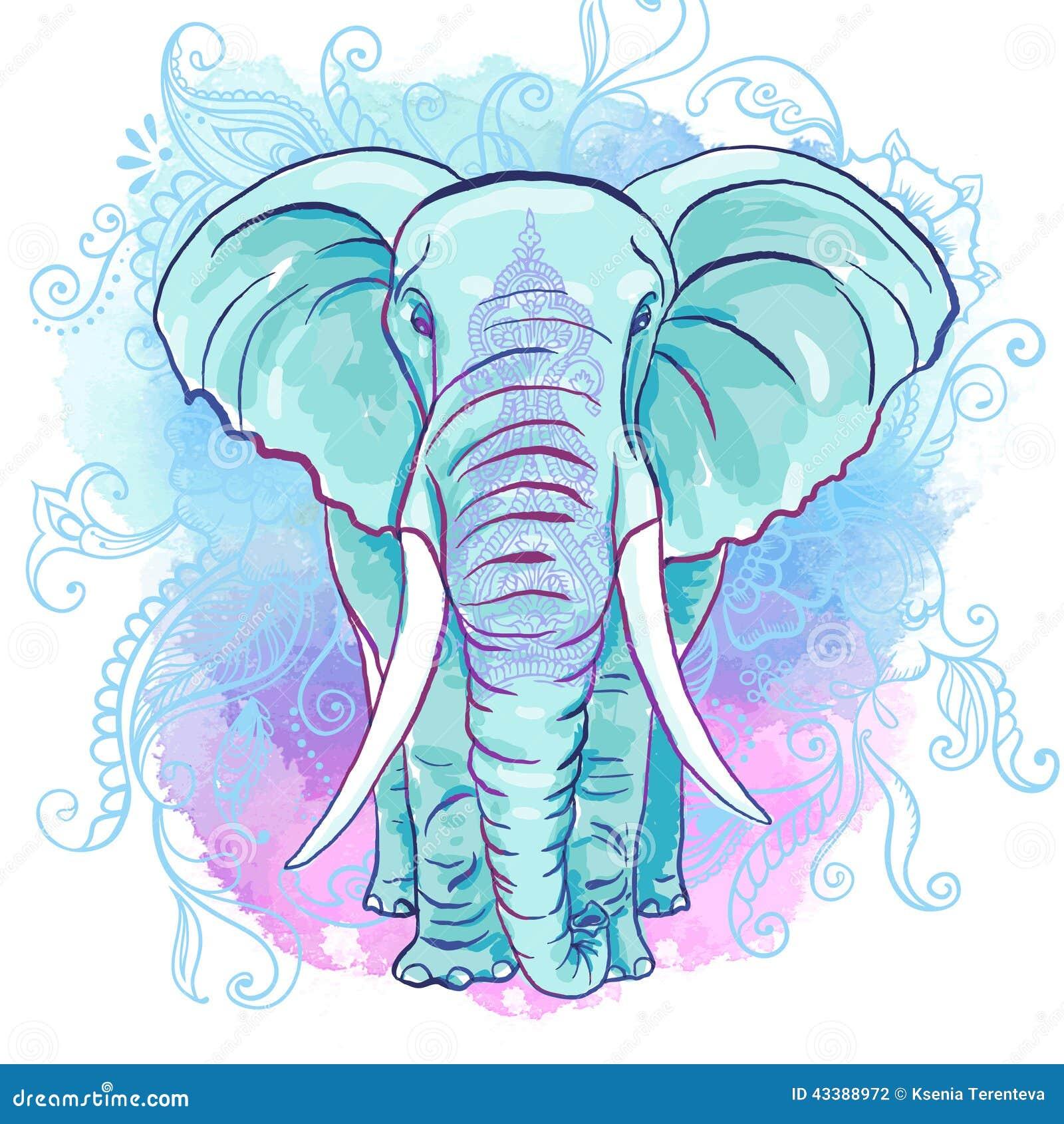 vektorindischer elefant auf dem aquarellfleck vektor