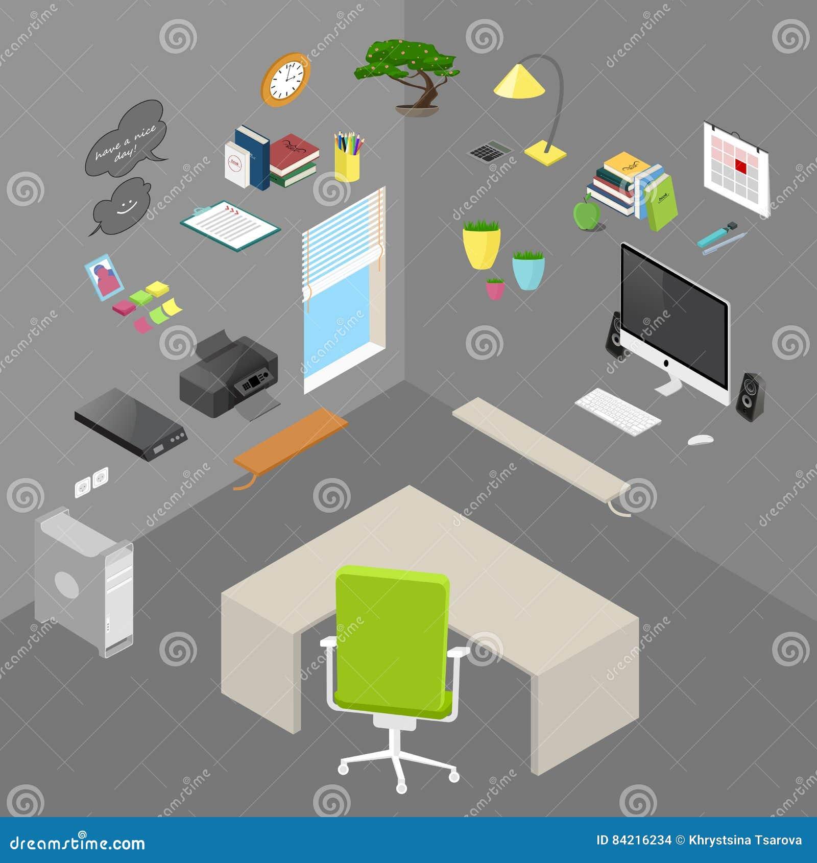 Vektor isolerat isometriskt kontorsobjekt och möblemang