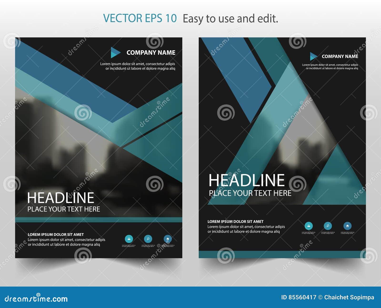 Vektor-Jahresbericht Broschüre Dreieck des blauen Schwarzen
