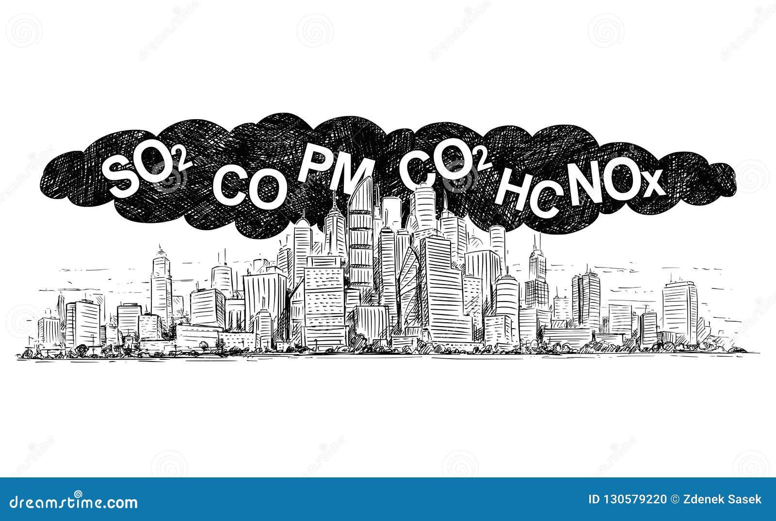 Vektor-künstlerische zeichnende Illustration der Stadt abgedeckt durch Rauch und Luftverschmutzung