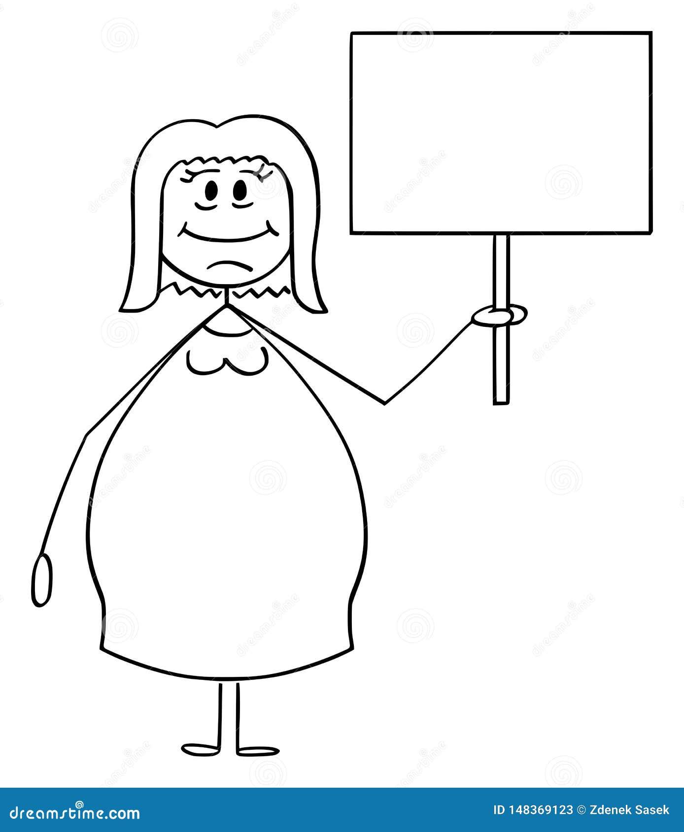 Vektor-Karikatur von lächeln beleibt oder von der überladenen Frau, die leeres Zeichen hält