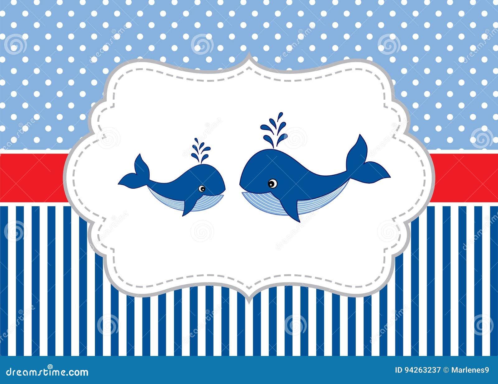 Vektor-Karten-Schablone Mit Netten Walen Auf Tupfen-und Streifen ...