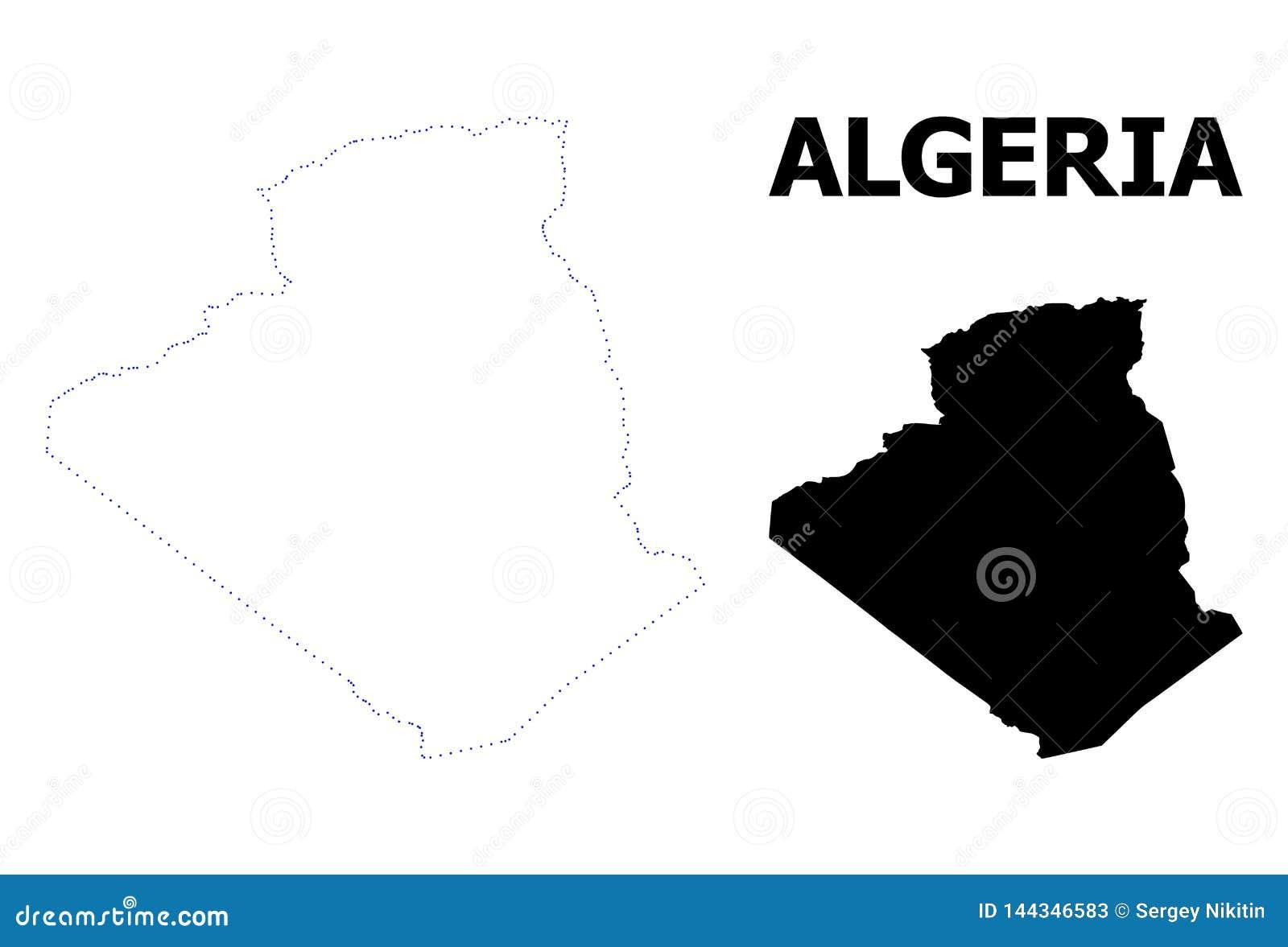 Vektor-Kontur punktierte Karte von Algerien mit Namen