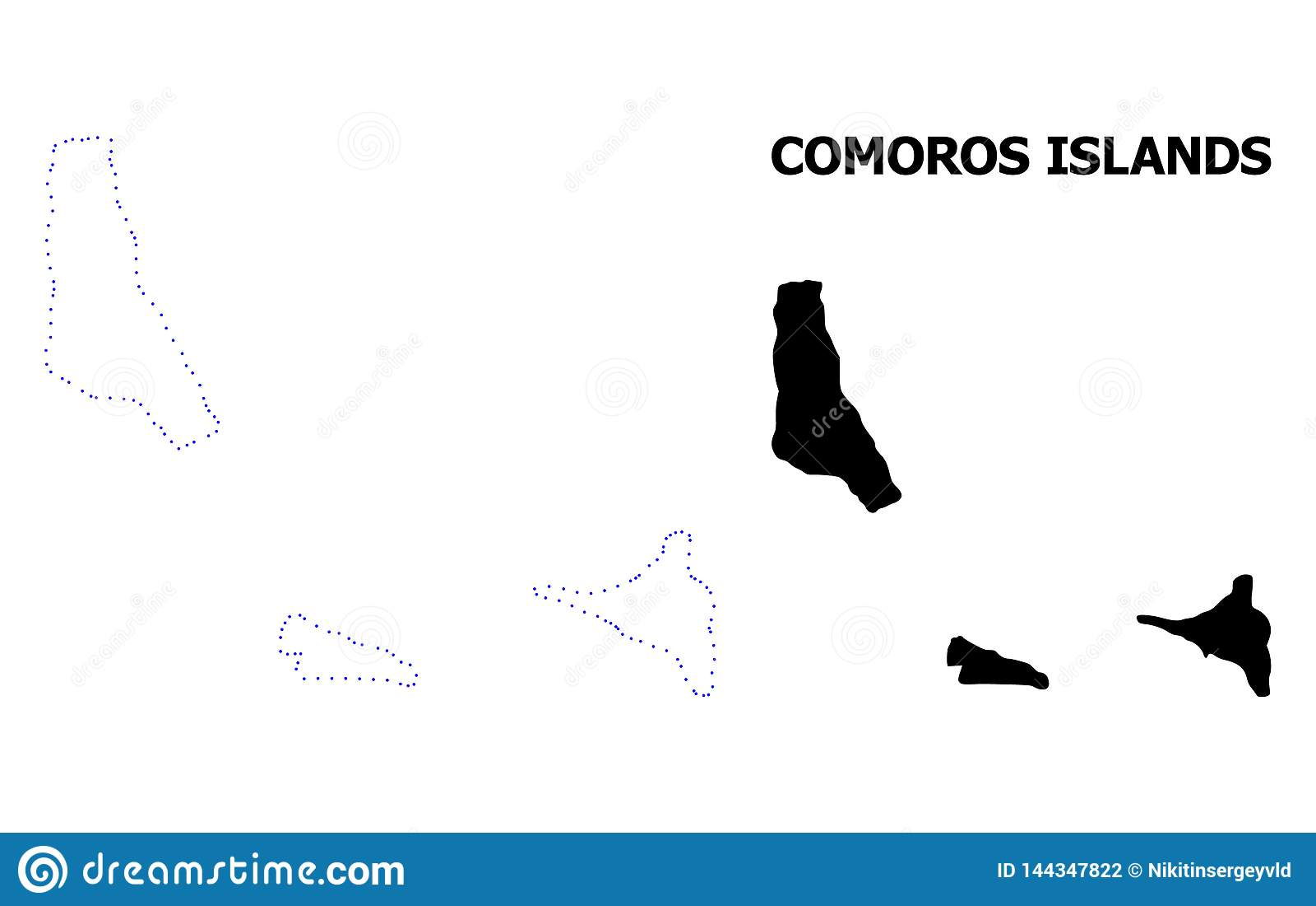 Vektor-Kontur punktierte Karte von Komoren-Inseln mit Namen