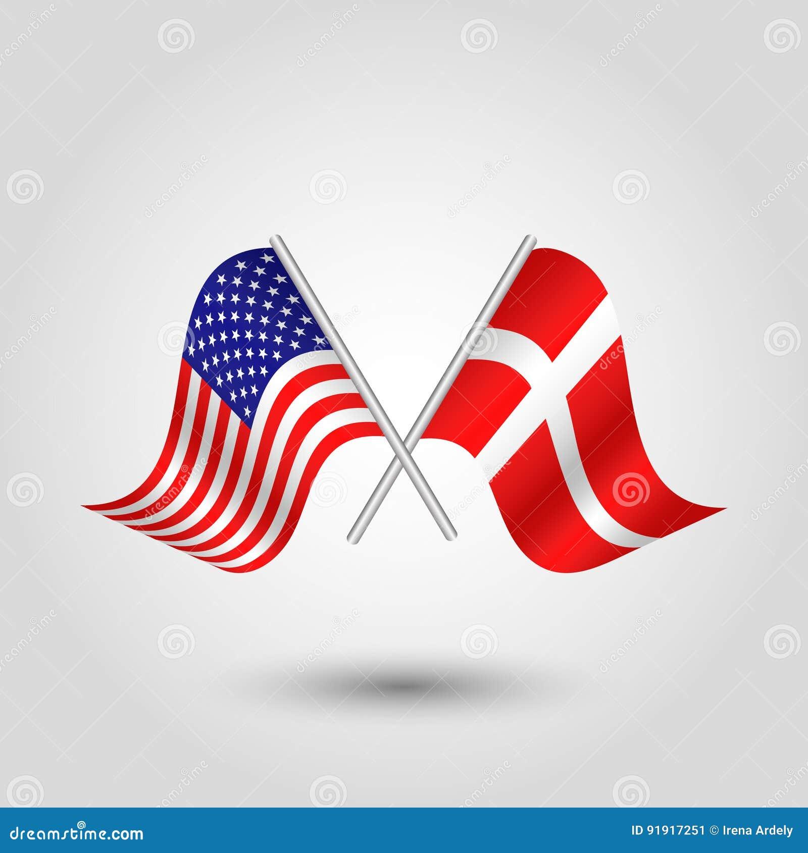 Vektor Kreuzte Die Amerikanischen Und Danischen Flaggen Auf