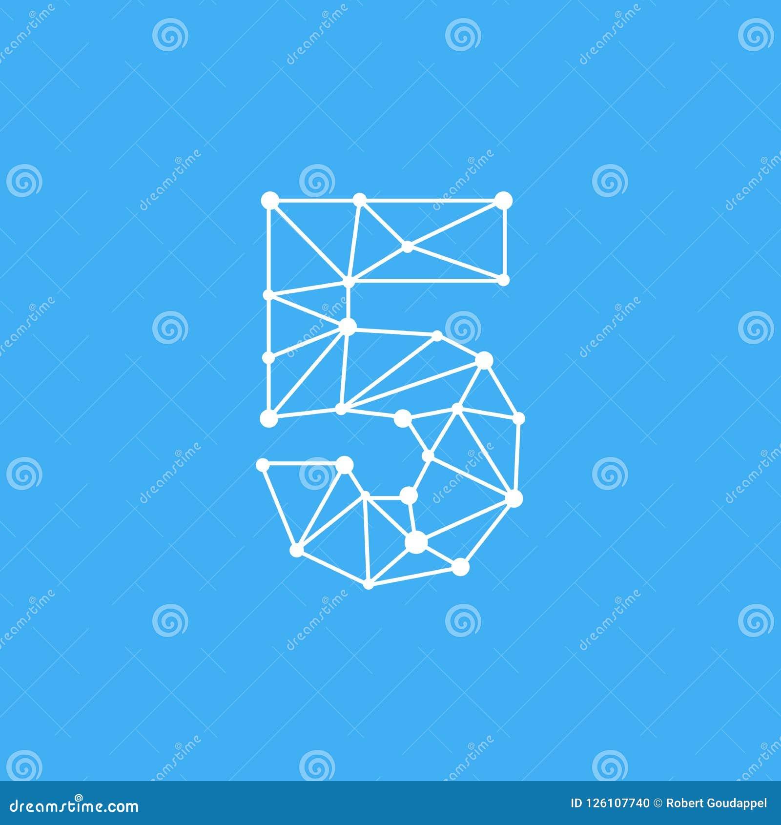 Vektor Logo Number 5 Dots Lines