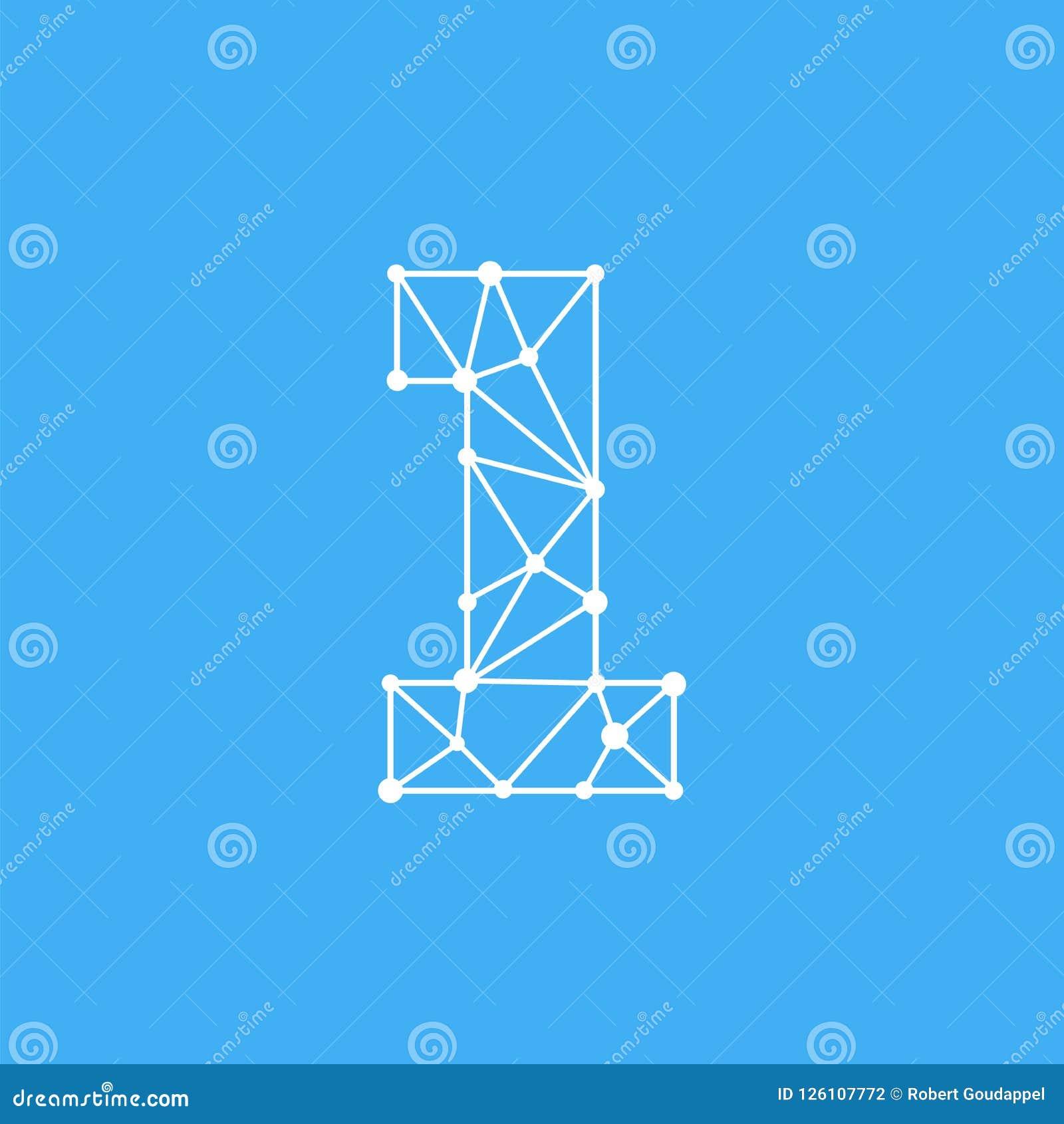 Vektor Logo Number 1 Dots Lines