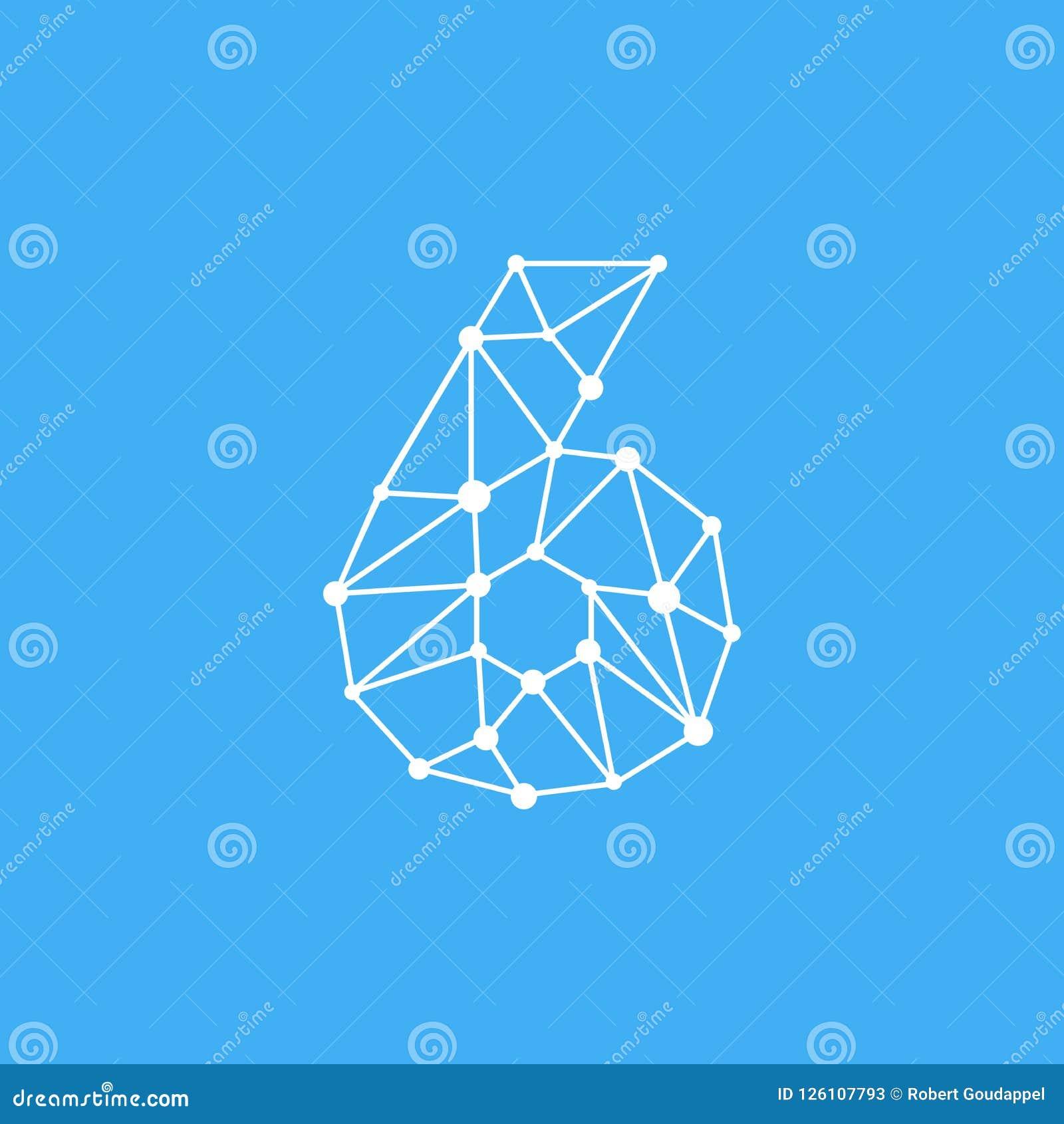 Vektor Logo Number 6 Dots Lines
