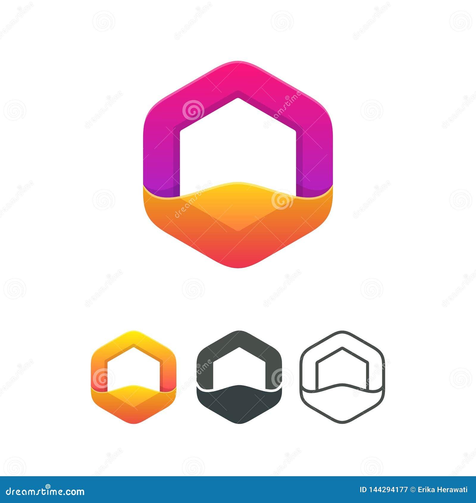 Vektor-Logoelement des Polygons modernes buntes abstraktes