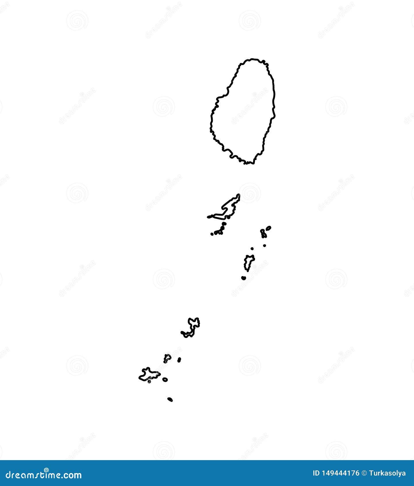 Vektor lokalisierte Illustrationsikone mit schwarzer Linie Schattenbild der vereinfachten Karte von nSaint Vincent und von Grenad