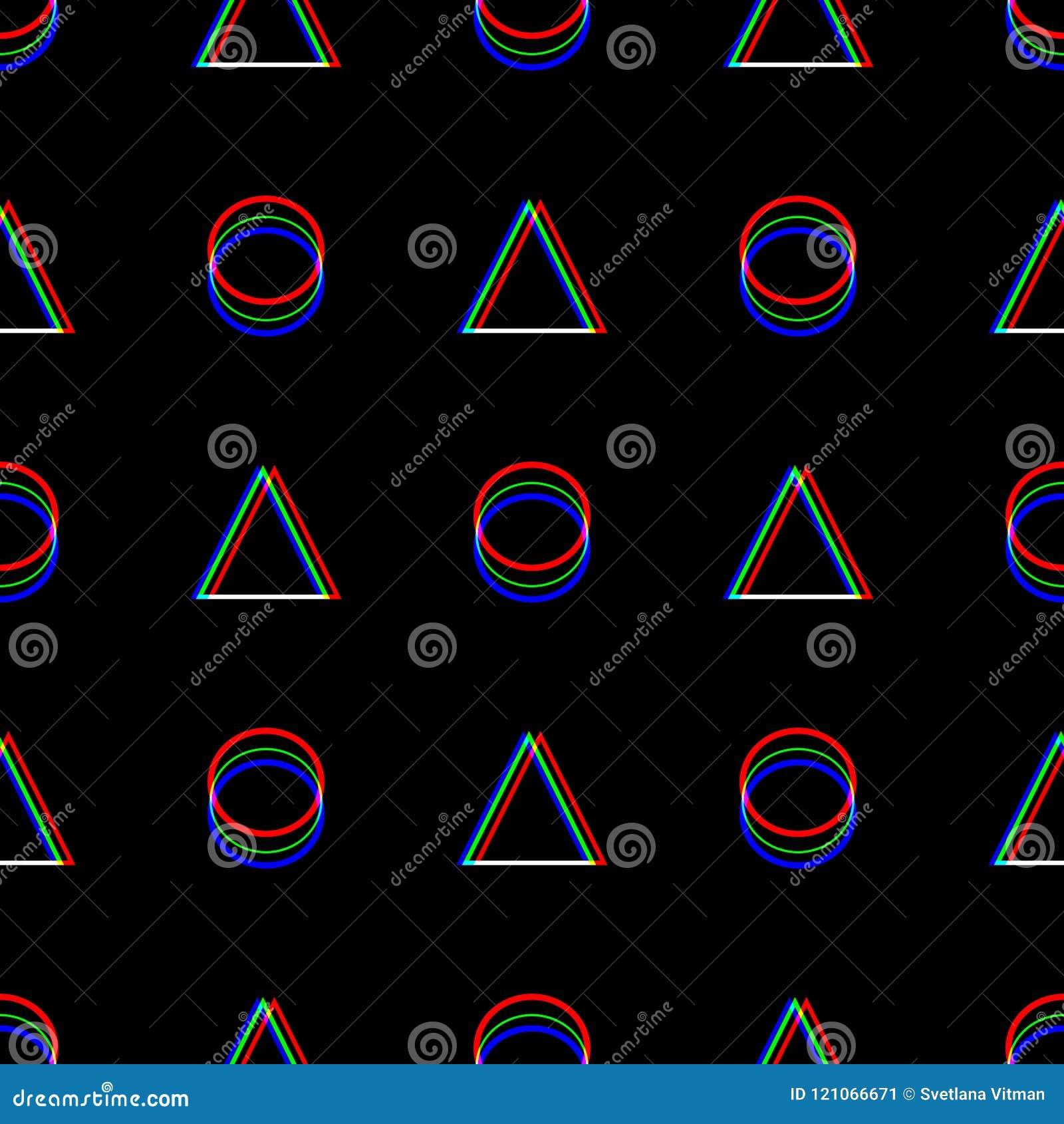 Vektor-nahtloses Störschubmuster Farbe auf schwarzem Hintergrund Dreieck und Kreis Digital-Pixelgeräusch-Zusammenfassungsdesign