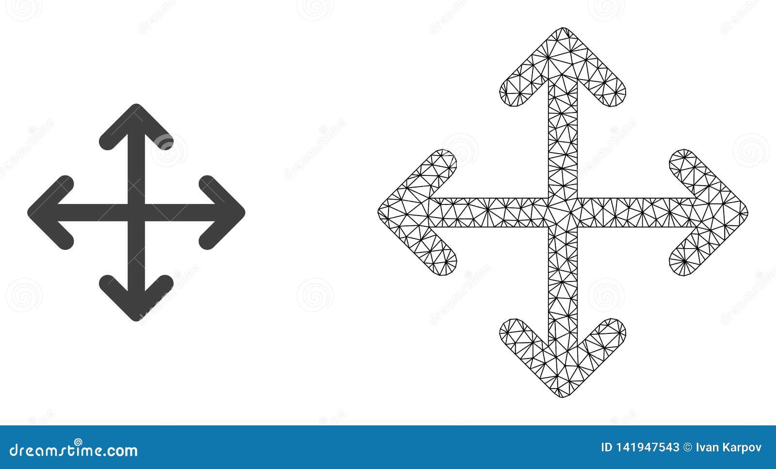 Vektor-Netz Mesh Expand Arrows und flache Ikone