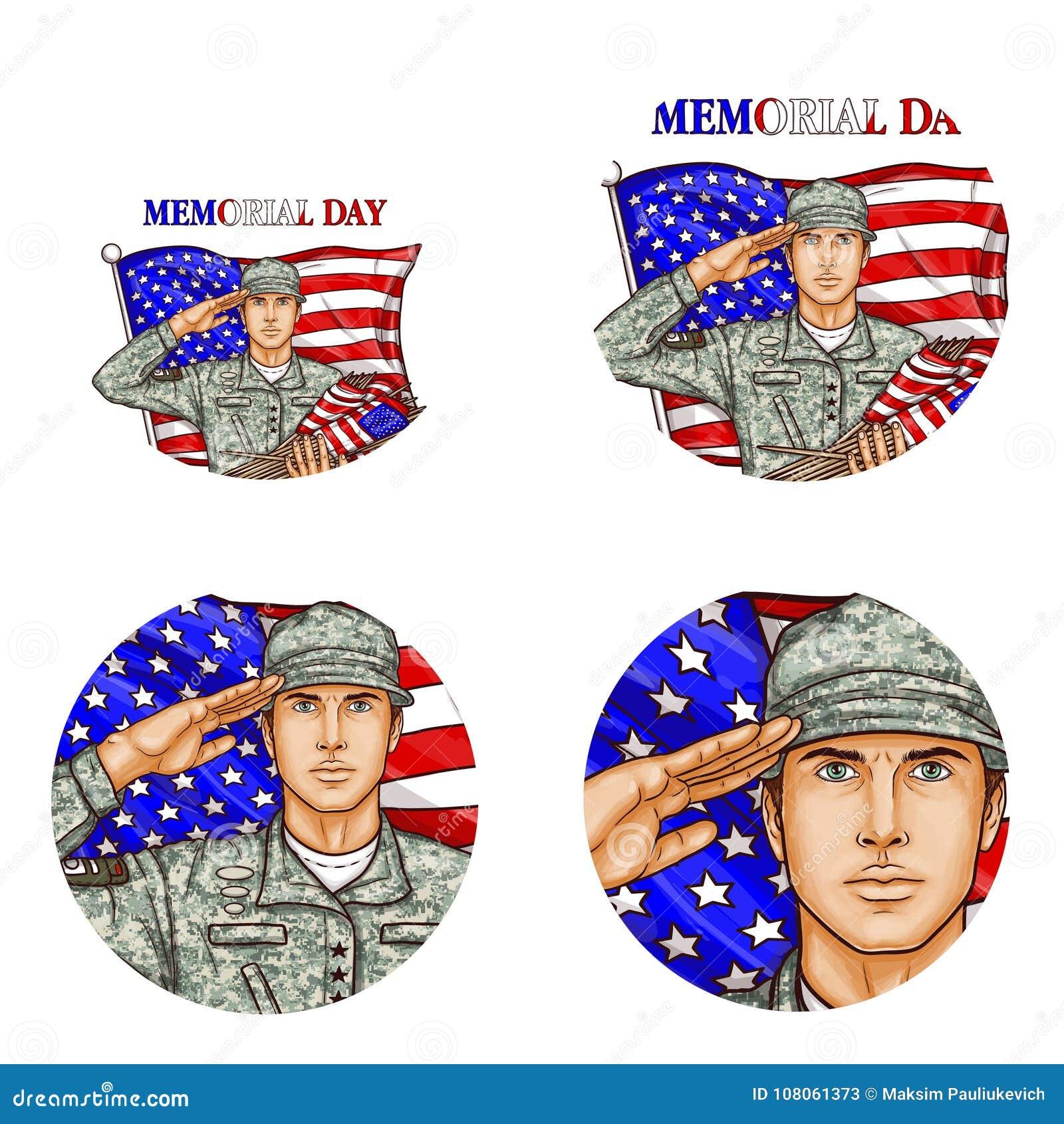 Vektor oss symbol för avatar för konst för pop för soldat för flaggahonnör