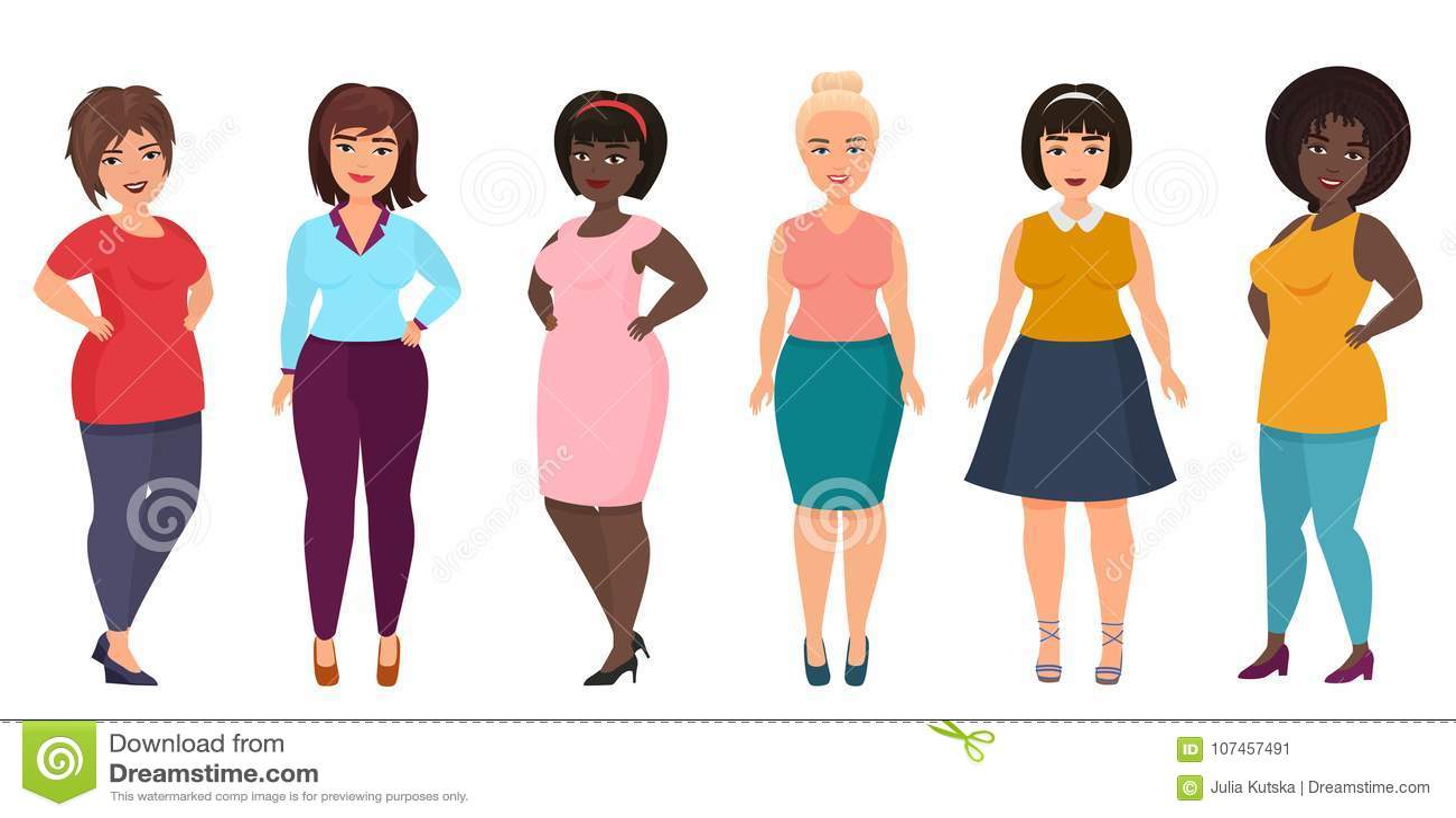 Vektor plus Größenfrauenmode Curvy, überladenes weibliches Mädchen in der legeren Kleidung kleidet