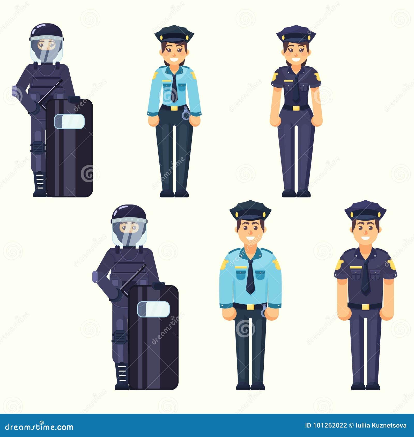 Vektor - Polizist, Polizeibeamtin, glückliche Polizei Cute Soldat der besonderen Kräfte bemannen und die Frauenmittel, die im ein