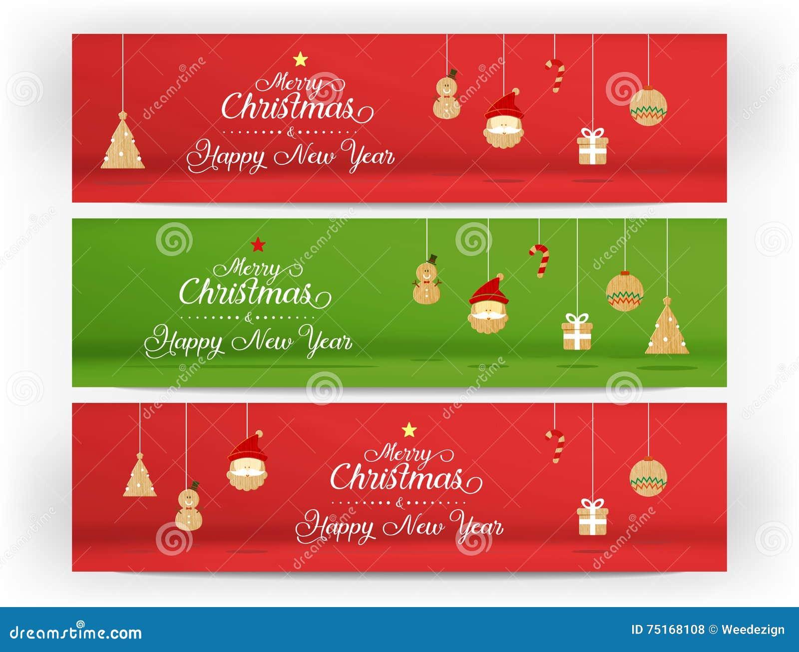 Vektor, röd och grön glad jul och lyckligt nytt år och symbol