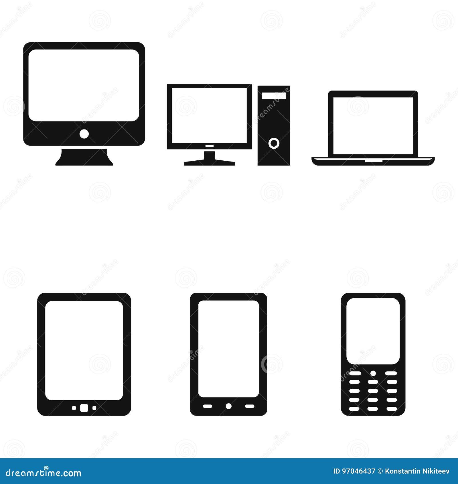 Vektor-Satz Gerät-Ikonen Personal-Computer-, Monitor, Laptop, Tablet ...