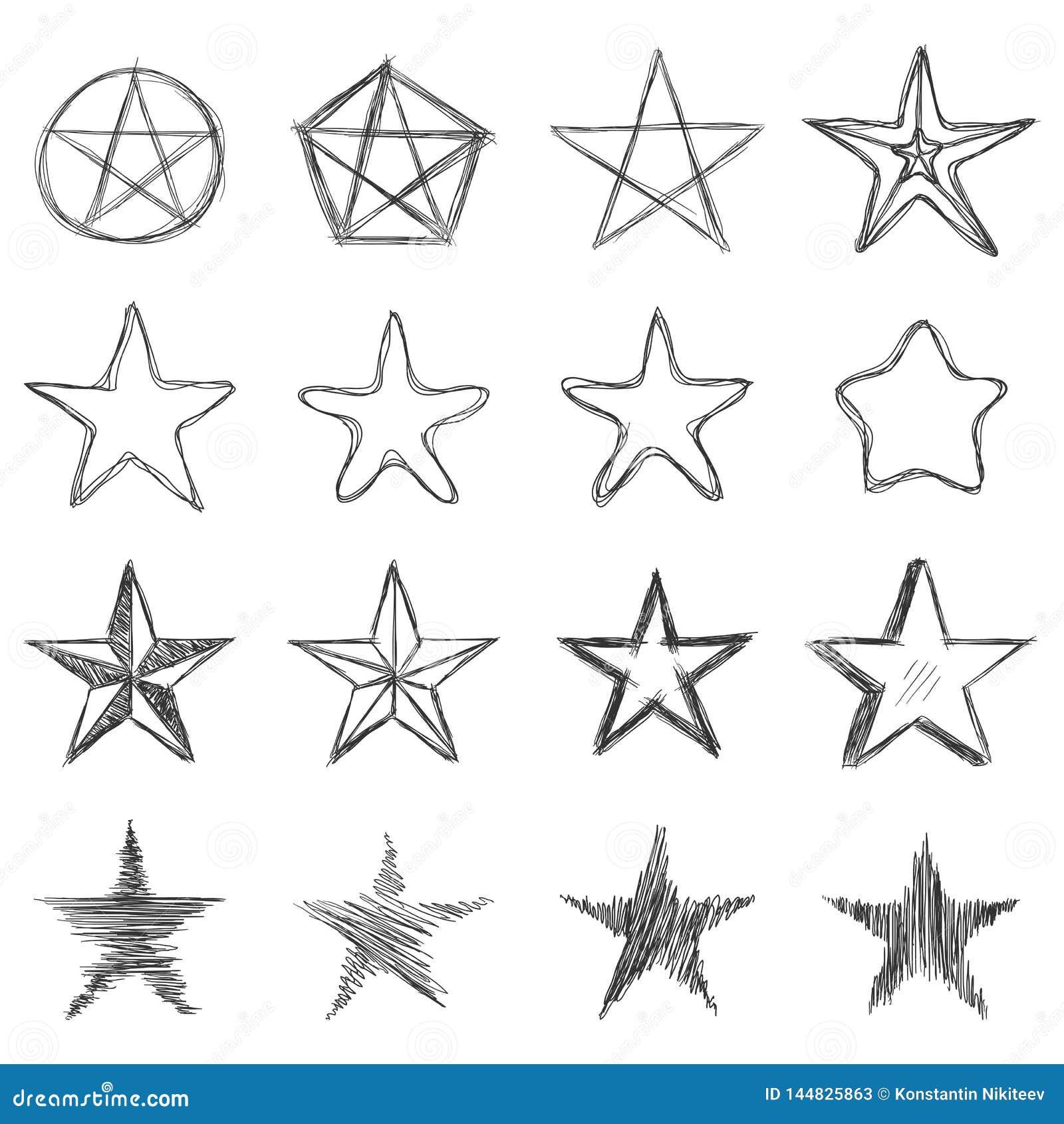 Vektor-Satz schmutzige Skizzen-Sterne